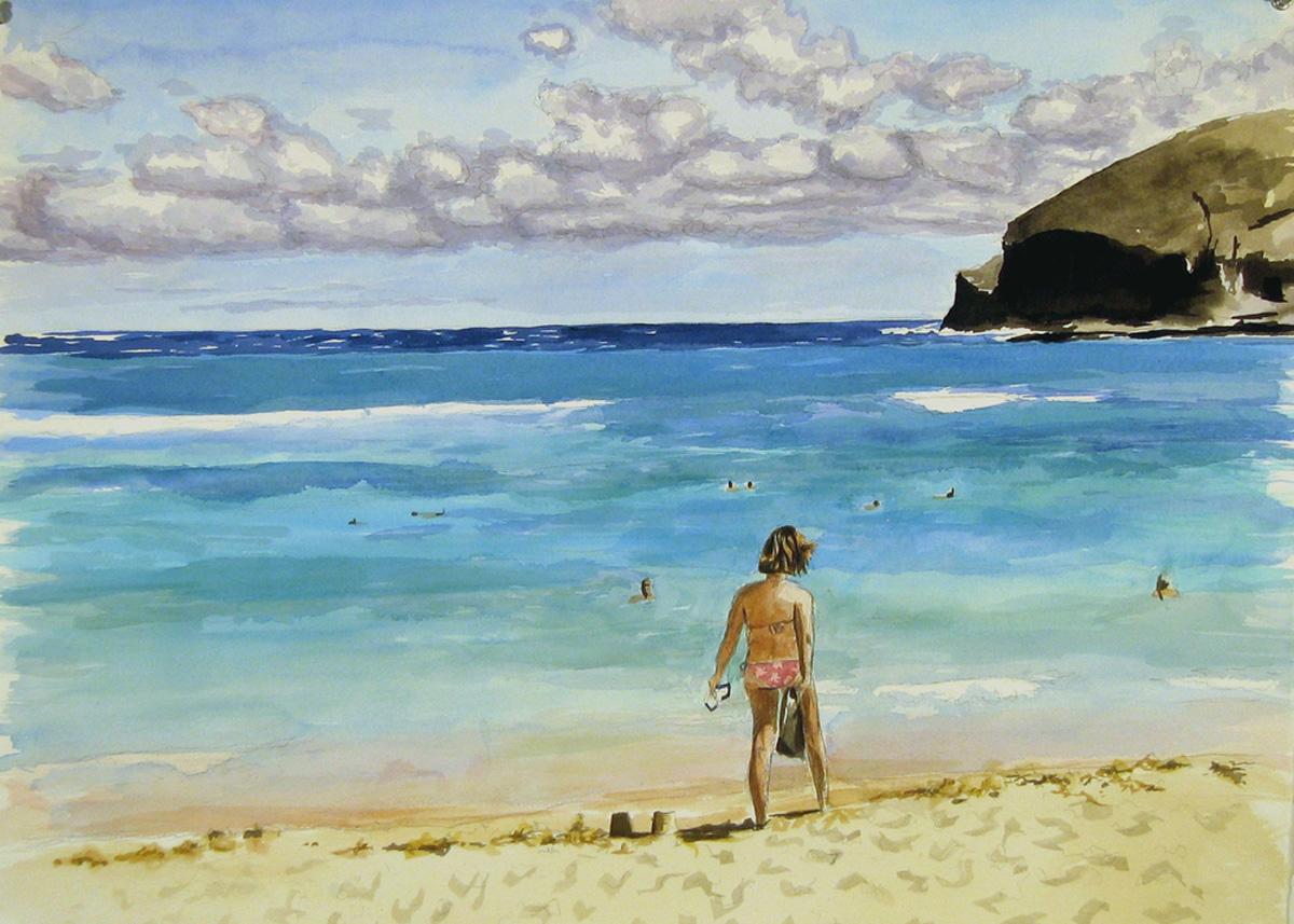 Ramona Walking on the Beach, watercolor & acrylic on paper, 2006, 22 x 30 in.