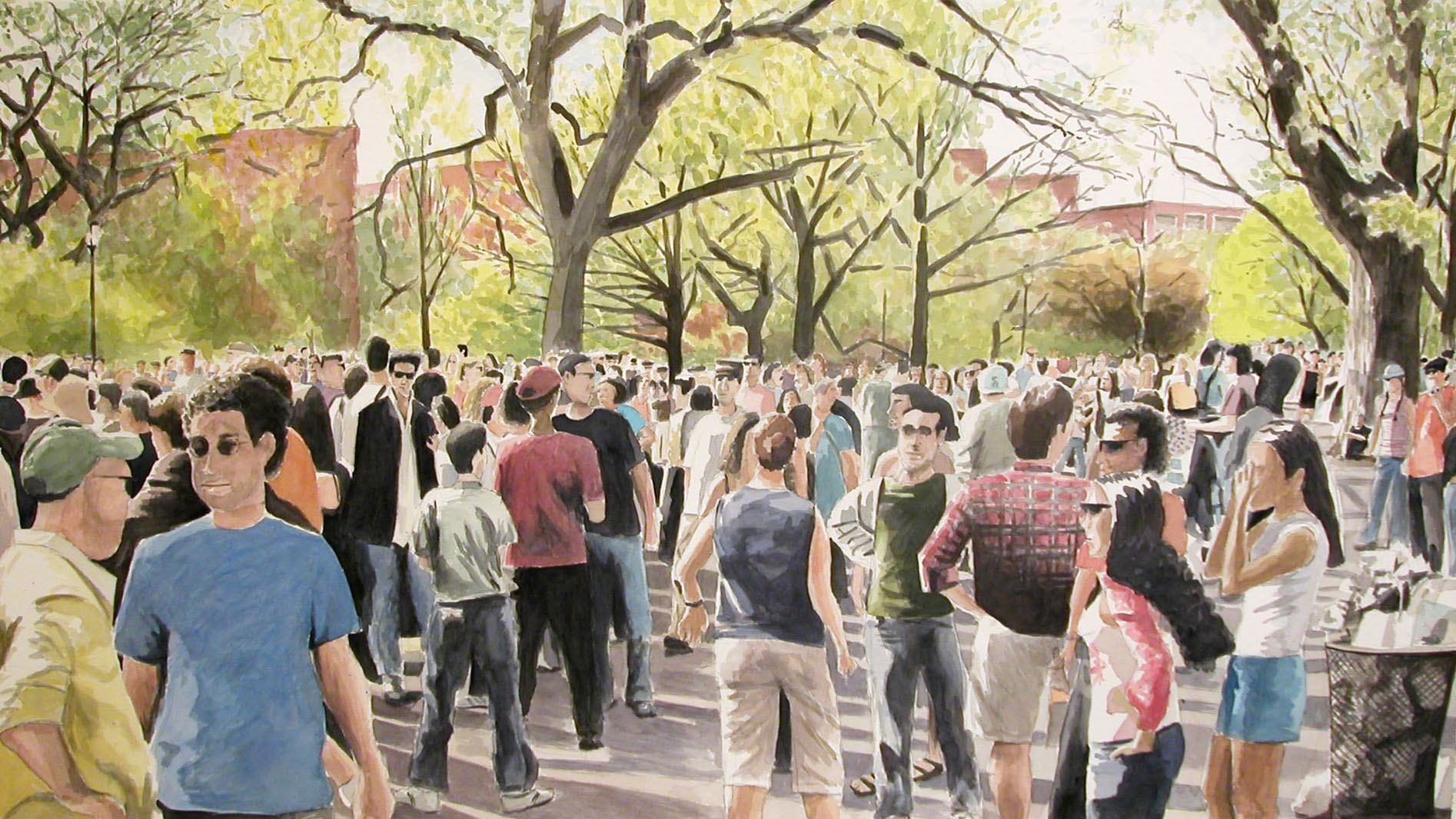 Park Crowd, 2003, watercolor & acrylic on paper, 34 x 60 in.