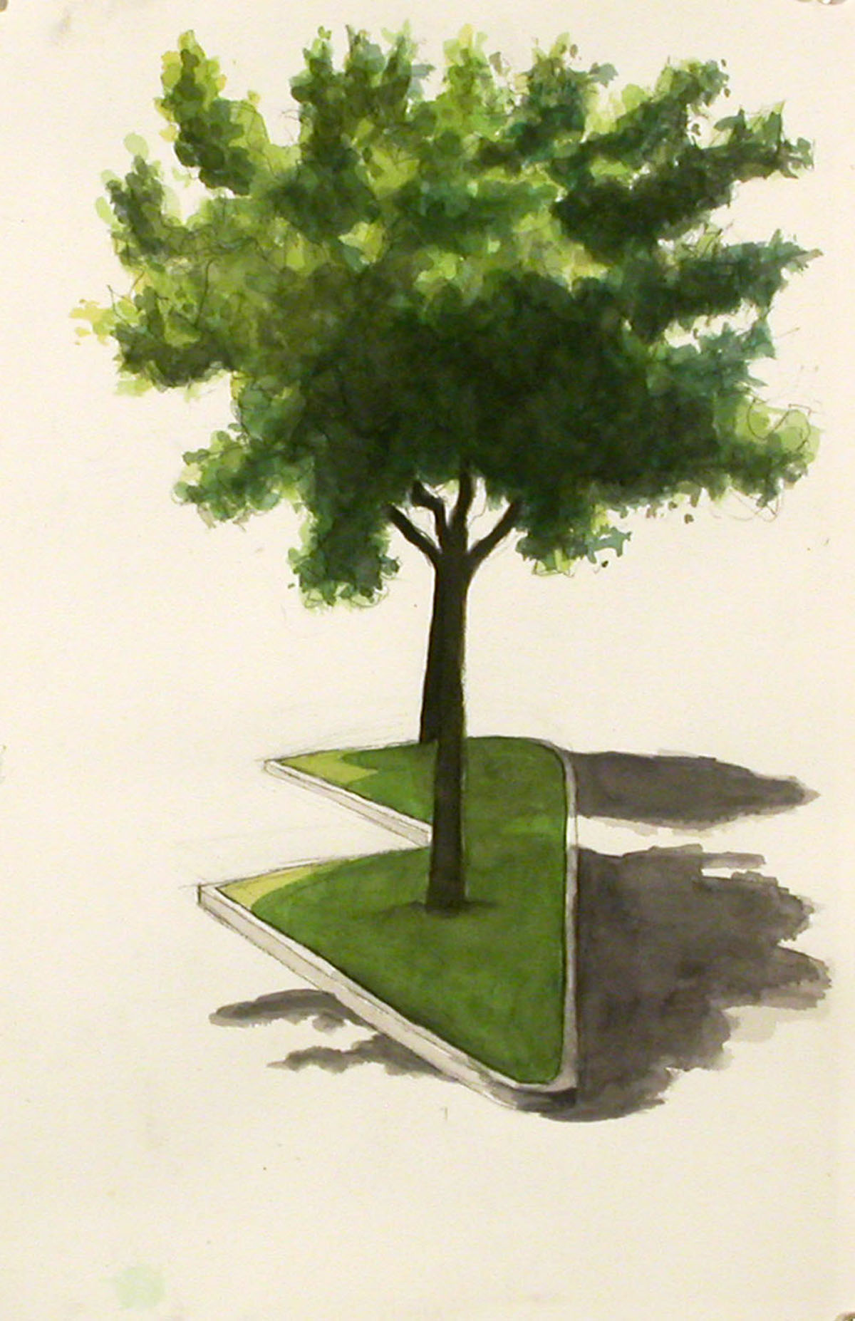 Tree island 2, 2003, watercolor, 13 x 9 in.