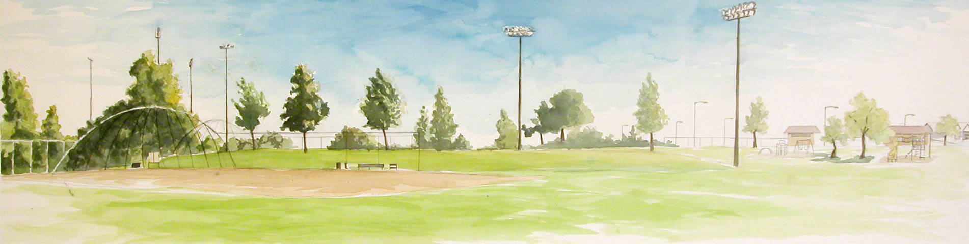 Baseball Field, 2003, watercolor, 18 x 62 in.