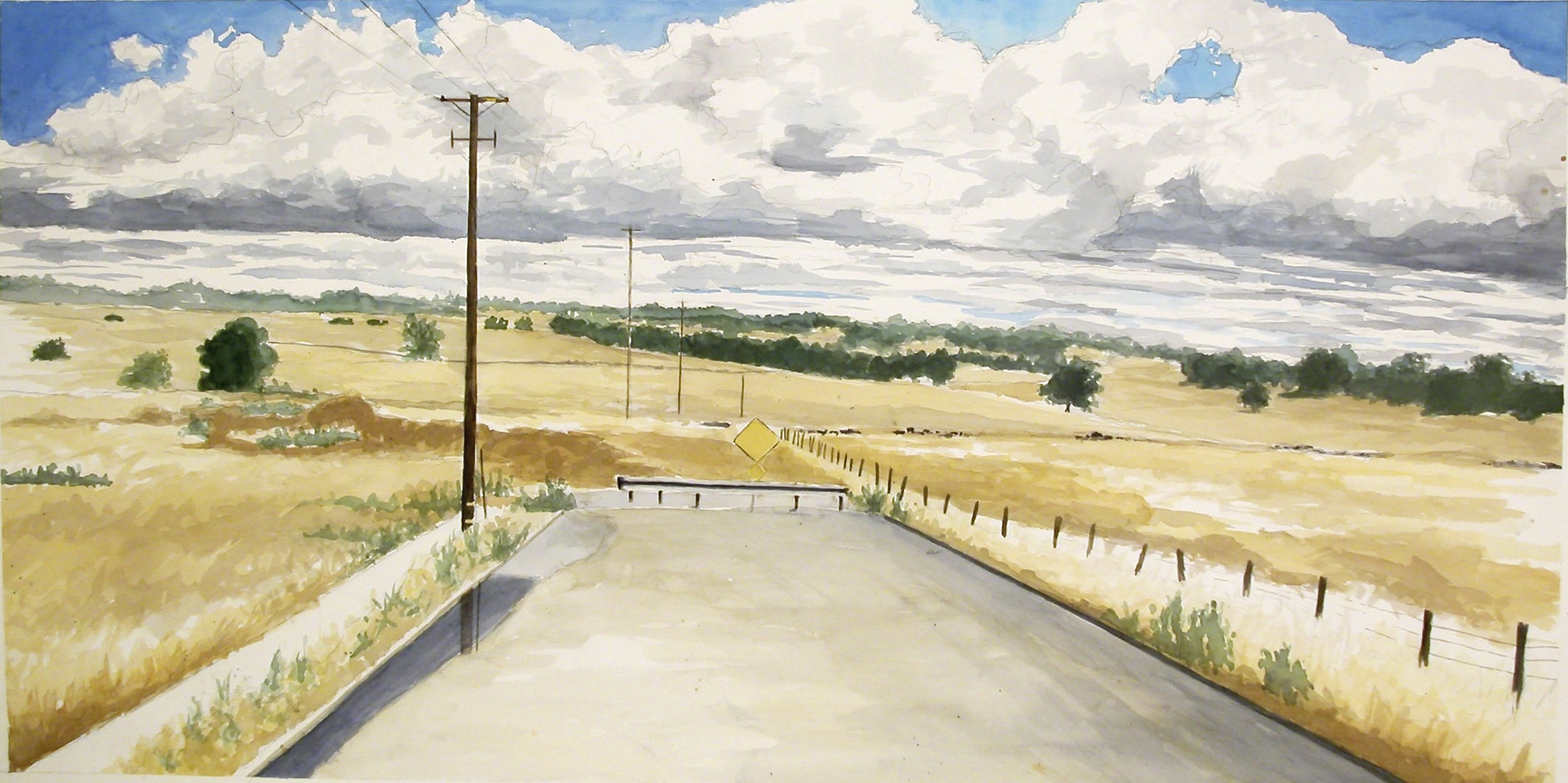 Street with Clouds, 2003, watercolor & acrylic on paper, 32 x 56 in.