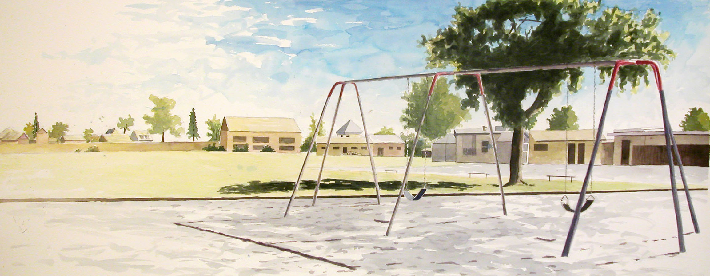Swings, 2003, Watercolor, 30 x 62