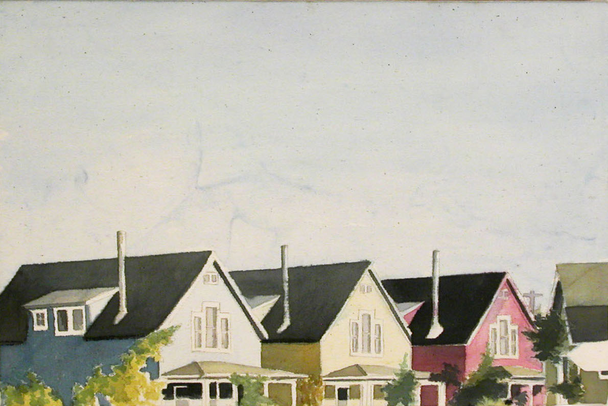 Houses, 2002, acrylic on canvas, 12 x 18 in