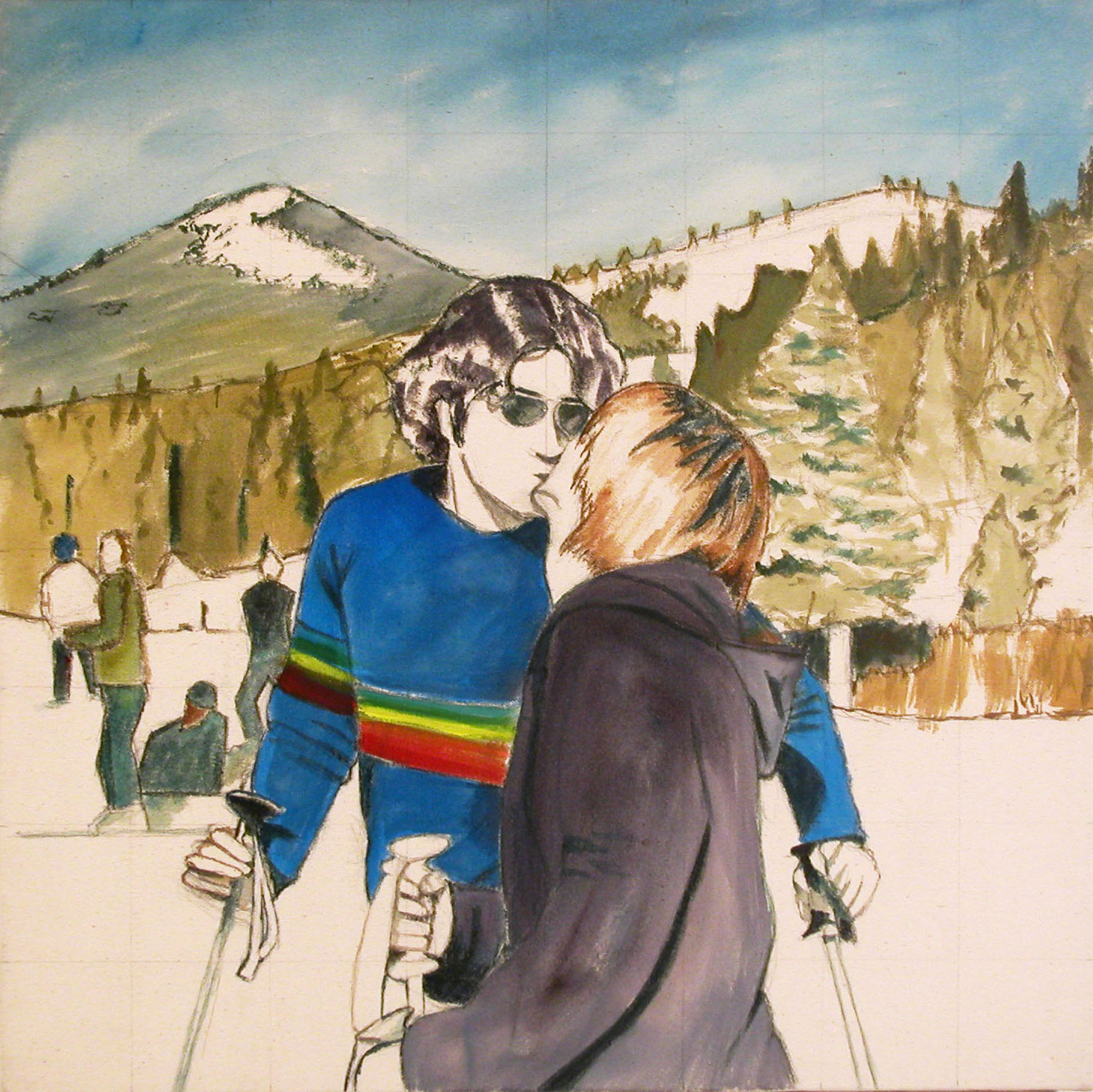 Ski Kiss, 2001, acrylic on canvas, 24 x 24 in.