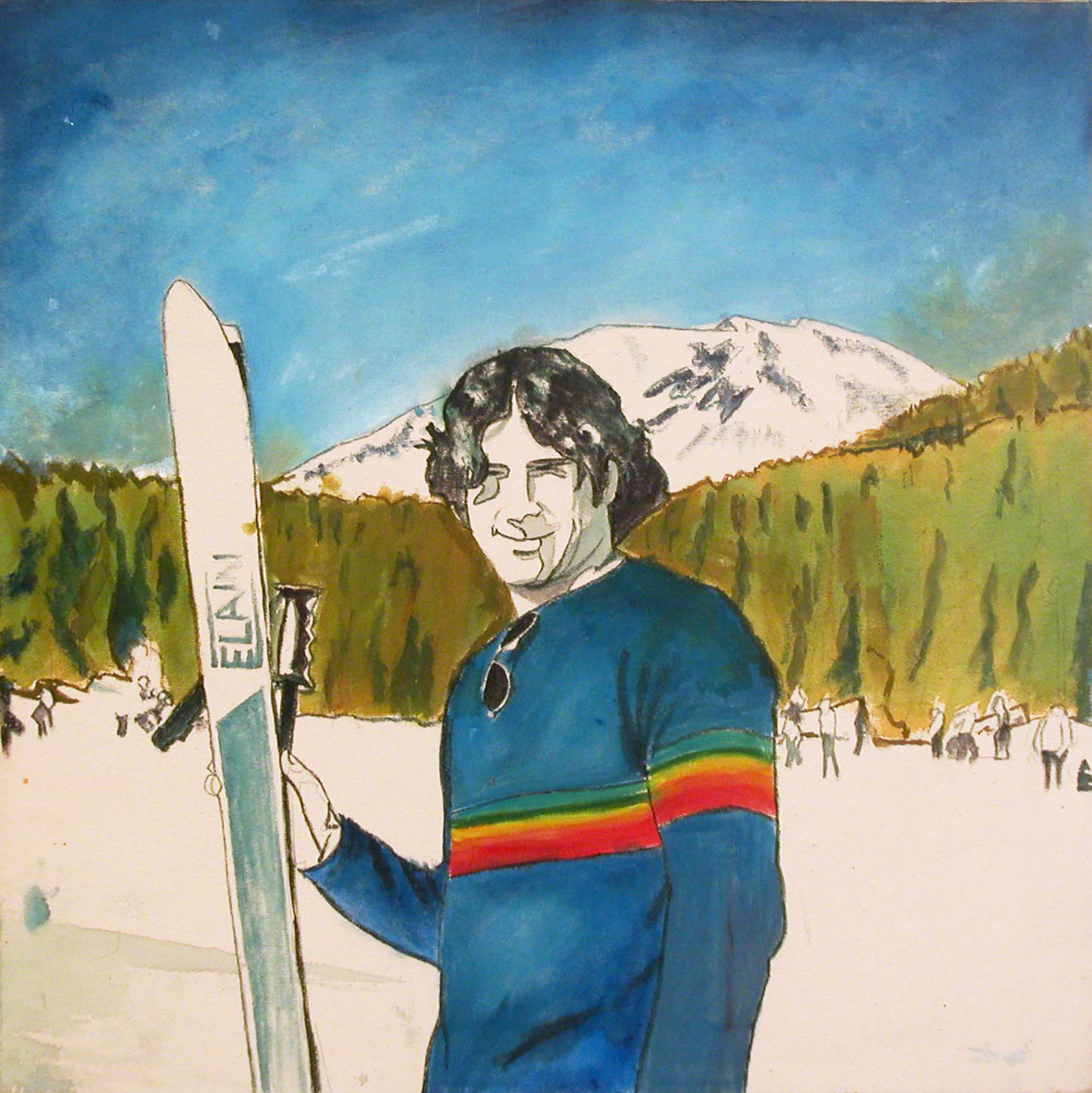 Ski Pose, 2001, acrylic on canvas, 24 x 24 in.