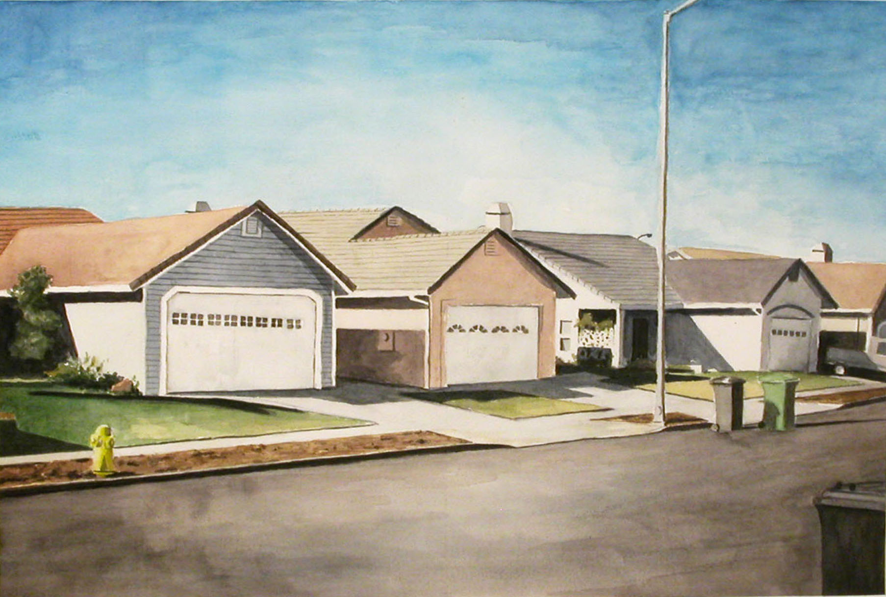 Suburban Street, 2002, watercolor, 14 x 21 in.