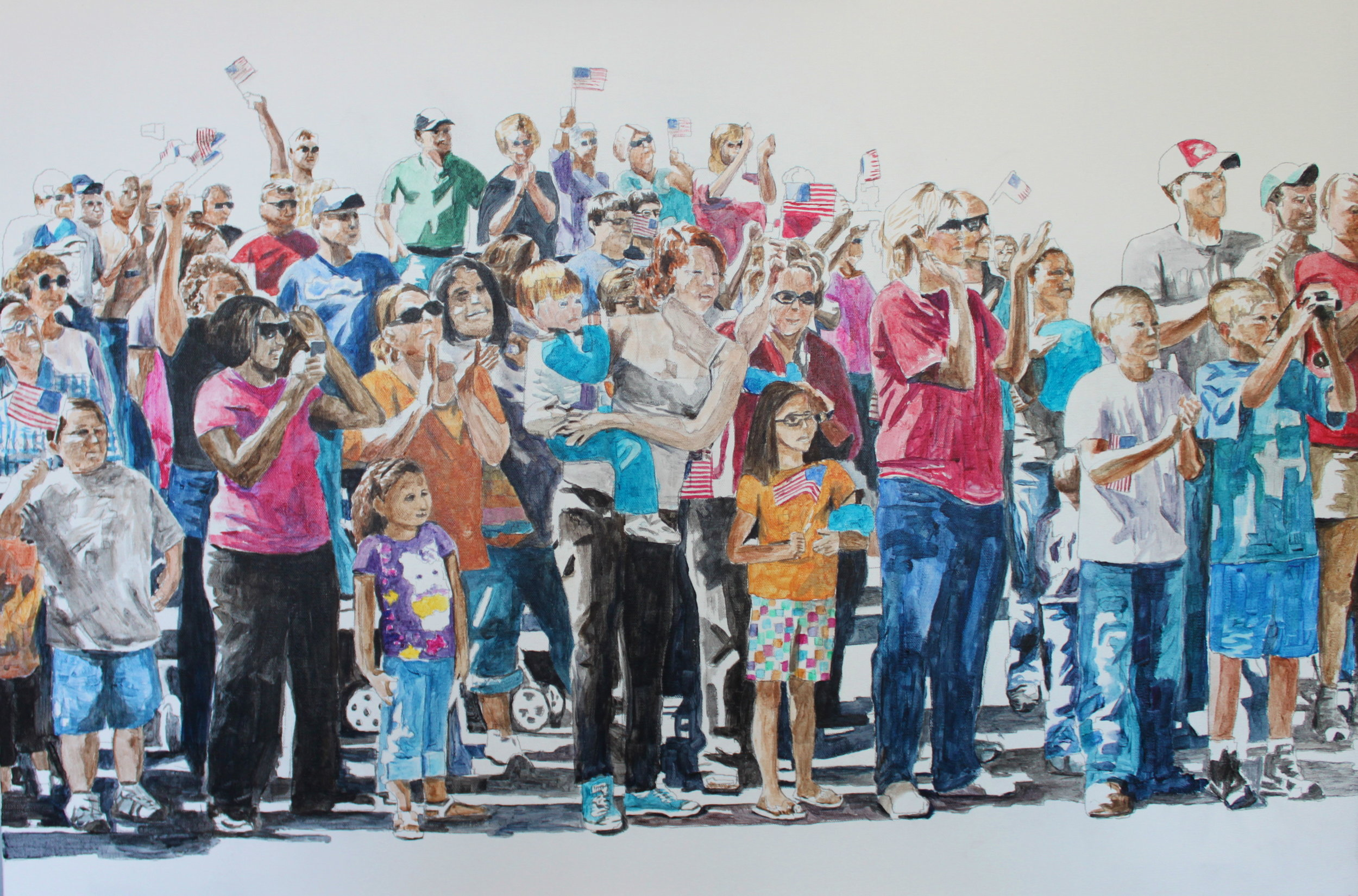 Parade Crowd 2, 2016, 24 x 36 inches acrylic on canvas