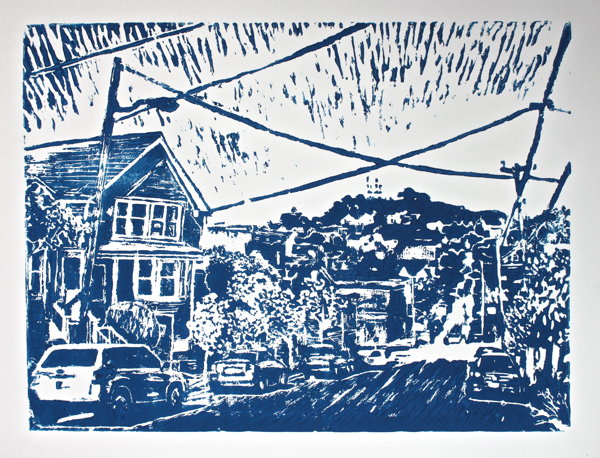 Bernal Hill, 2016, 9 x 11 inches, linoleum block print