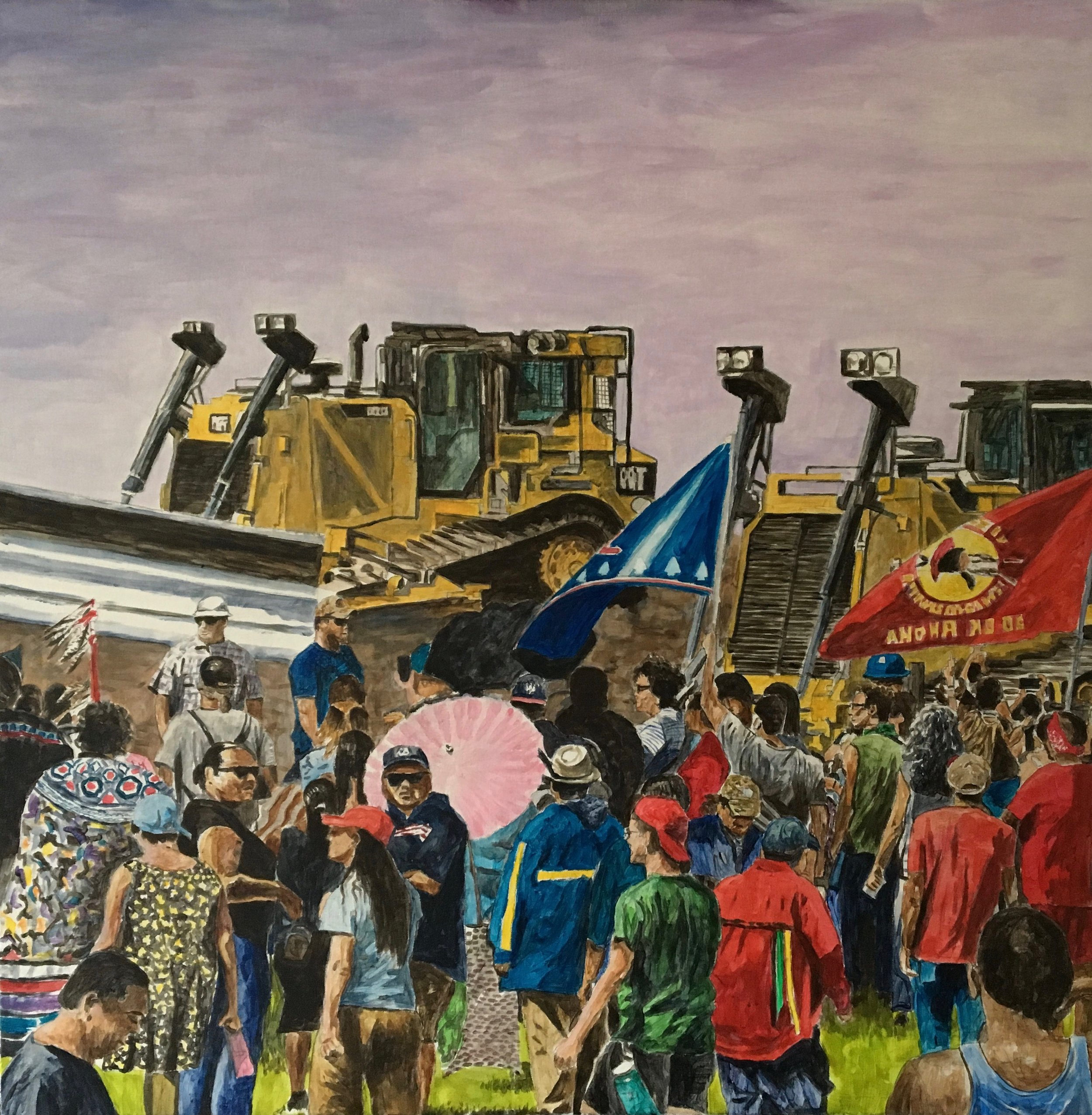 Standing Rock Crowd, 2017, acrylic on canvas, 36 x 36 inches