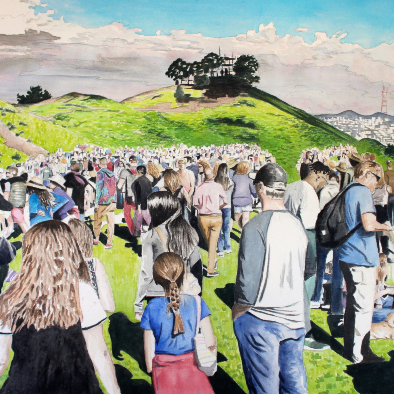Bernal Hill Crowd, 2016, acrylic on canvas, 36 x 36 inches