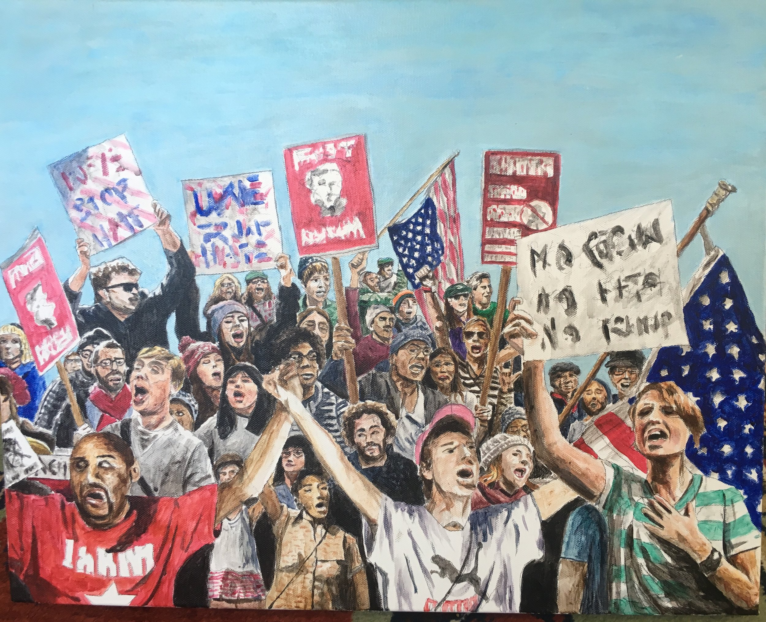 Protest Crowd, 2017, acrylic on canvas, 16 x 20 inches