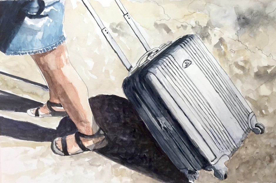 Pulling Suitcase, 2017, watercolor 11 x 14 inches