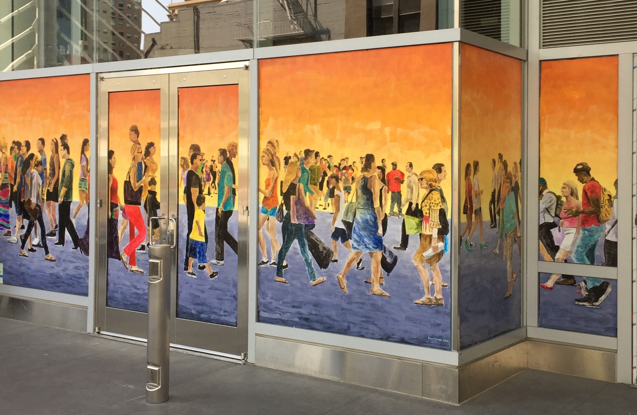 Finished Mural,  Street Crowd, 2018, 7 x 34 ft, acrylic on graffiti film on glass