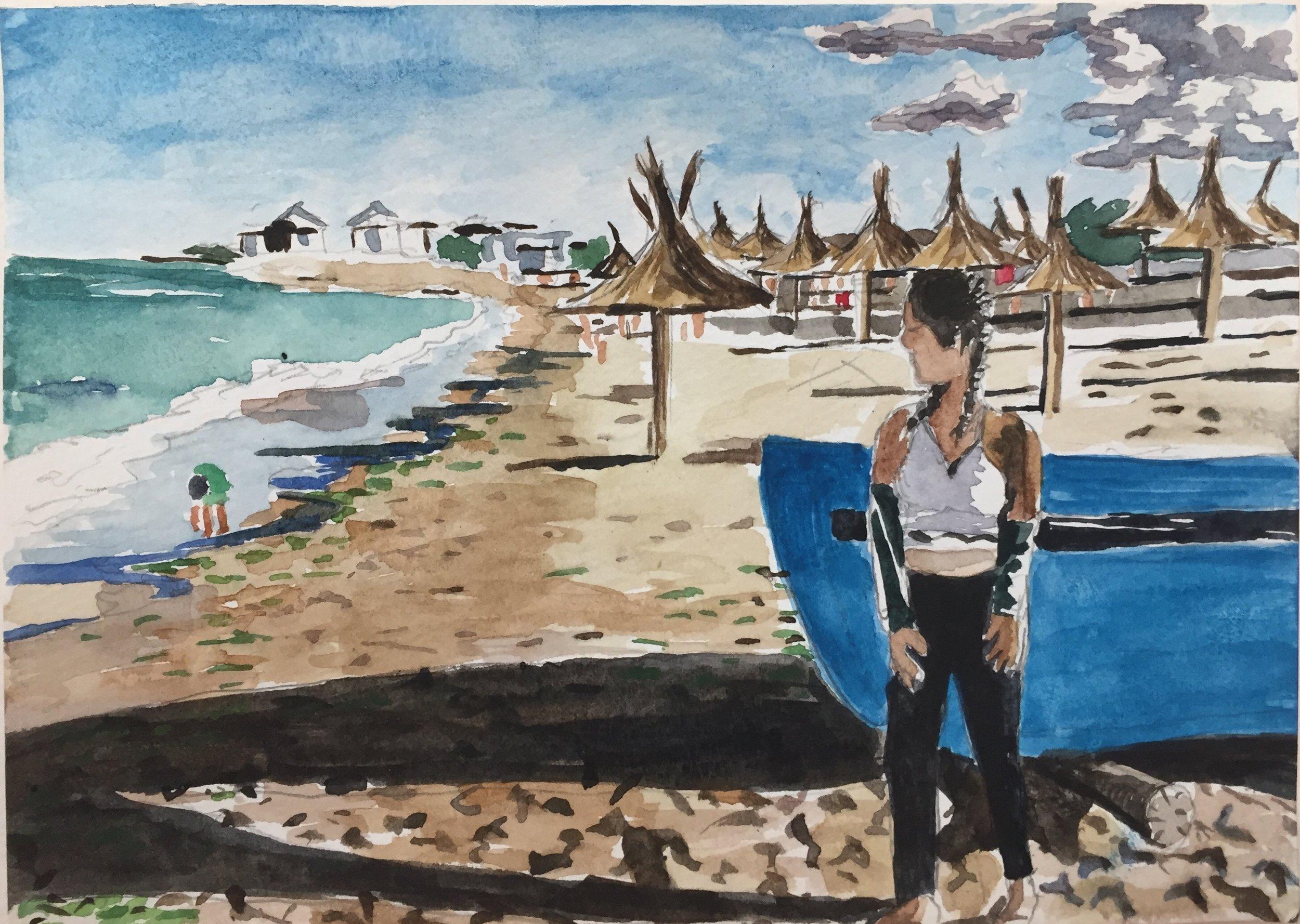 Chloe at the Black Sea, 2019, 4 1/2 x 6 1/2 in., watercolor