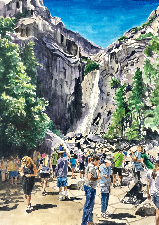 Yosemite Falls, 2019, acrylic on paper, 15 x 11 in.