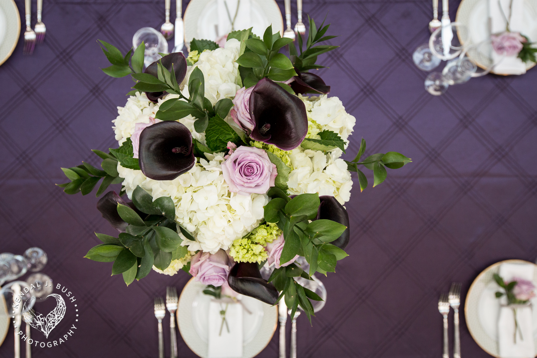 Malloy Events | New England wedding florist | Currier Museum of Art | Winter Garden | Eggplant purple reception centerpiece