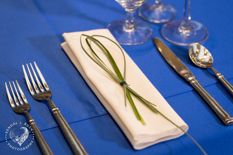 Malloy Events | New England wedding florist | Currier Museum of Art | Winter Garden | Modern napkin treatment