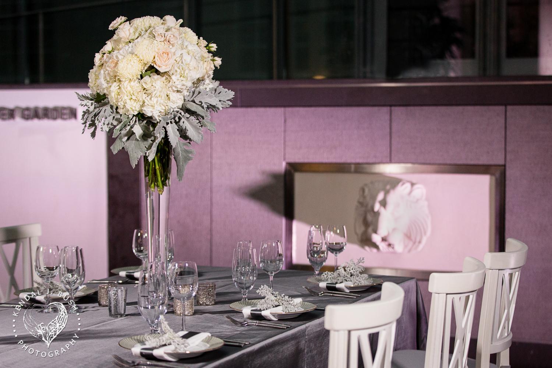 Malloy Events | New England wedding florist | Currier Museum of Art | Winter Garden | Winter wedding reception