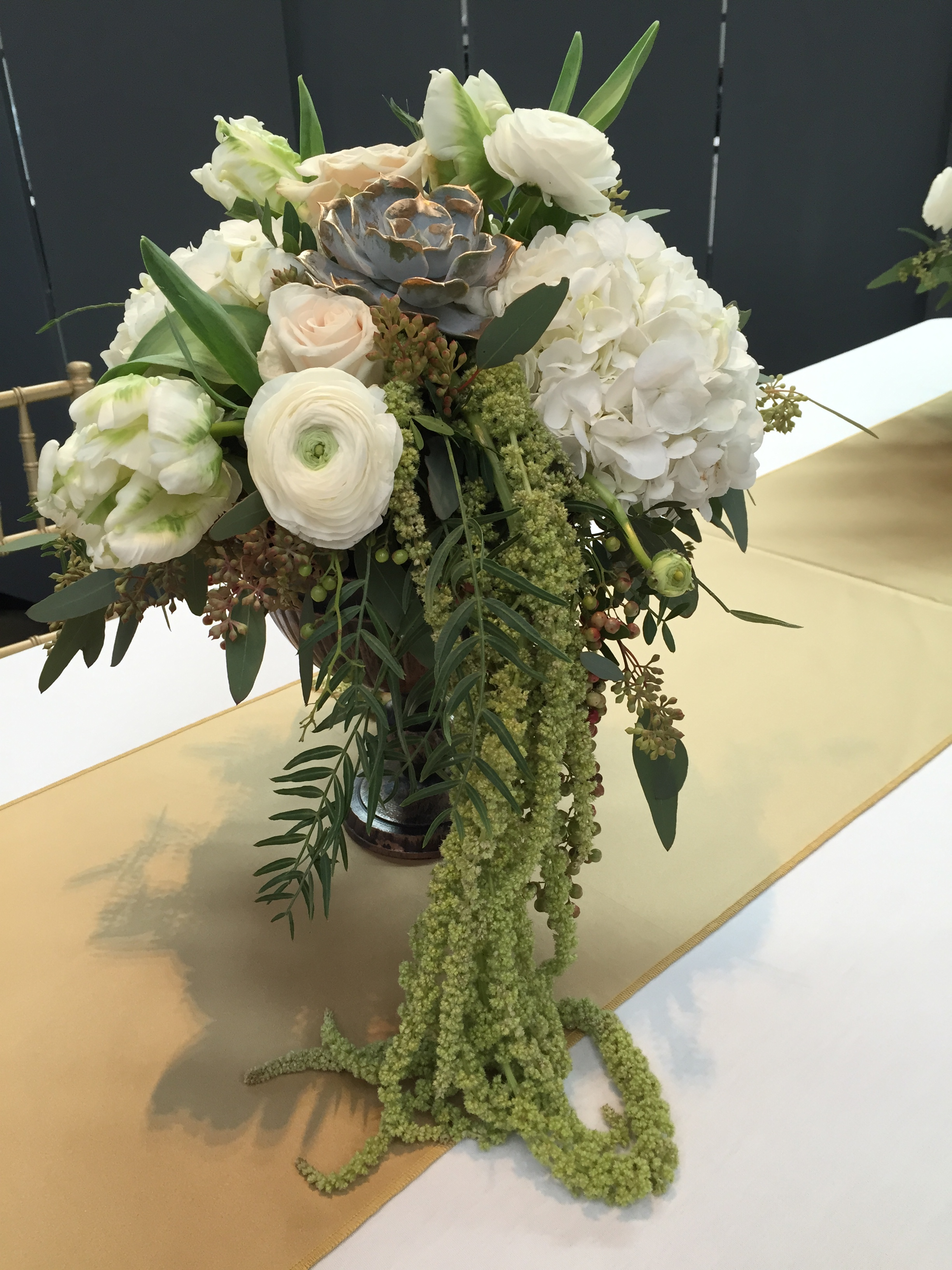 Malloy Events _ Currier Museum of Art _ Weddings _ Wedding florist _ gilded succulents
