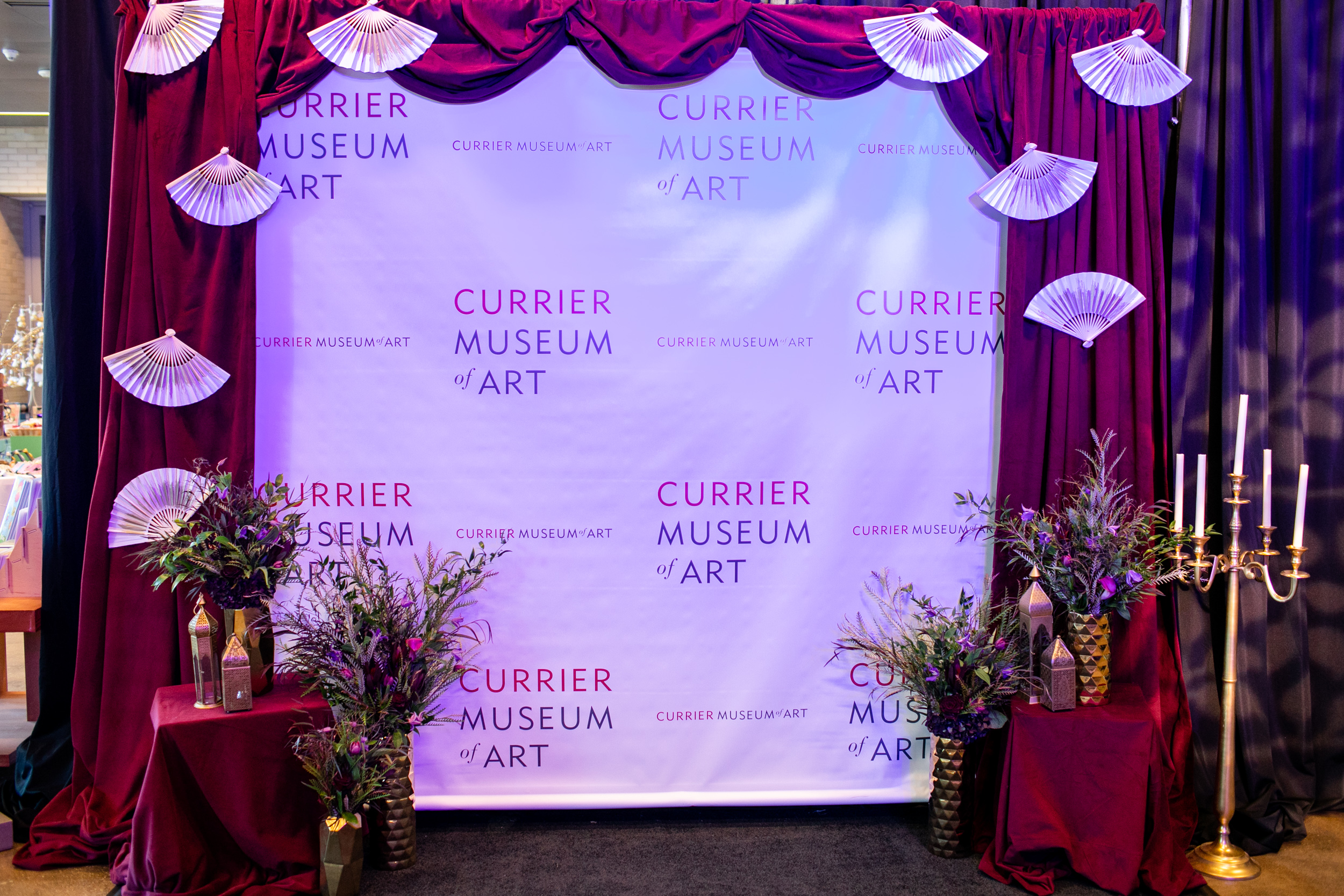 Masquerade_Ball_Currier_Museum_Manchester_Malloy_Events_branding_floral_drape
