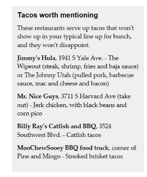 """Check out our Tulsa World honorable mention in """"Tulsa's Top Tacos"""" article published 05/04/16"""