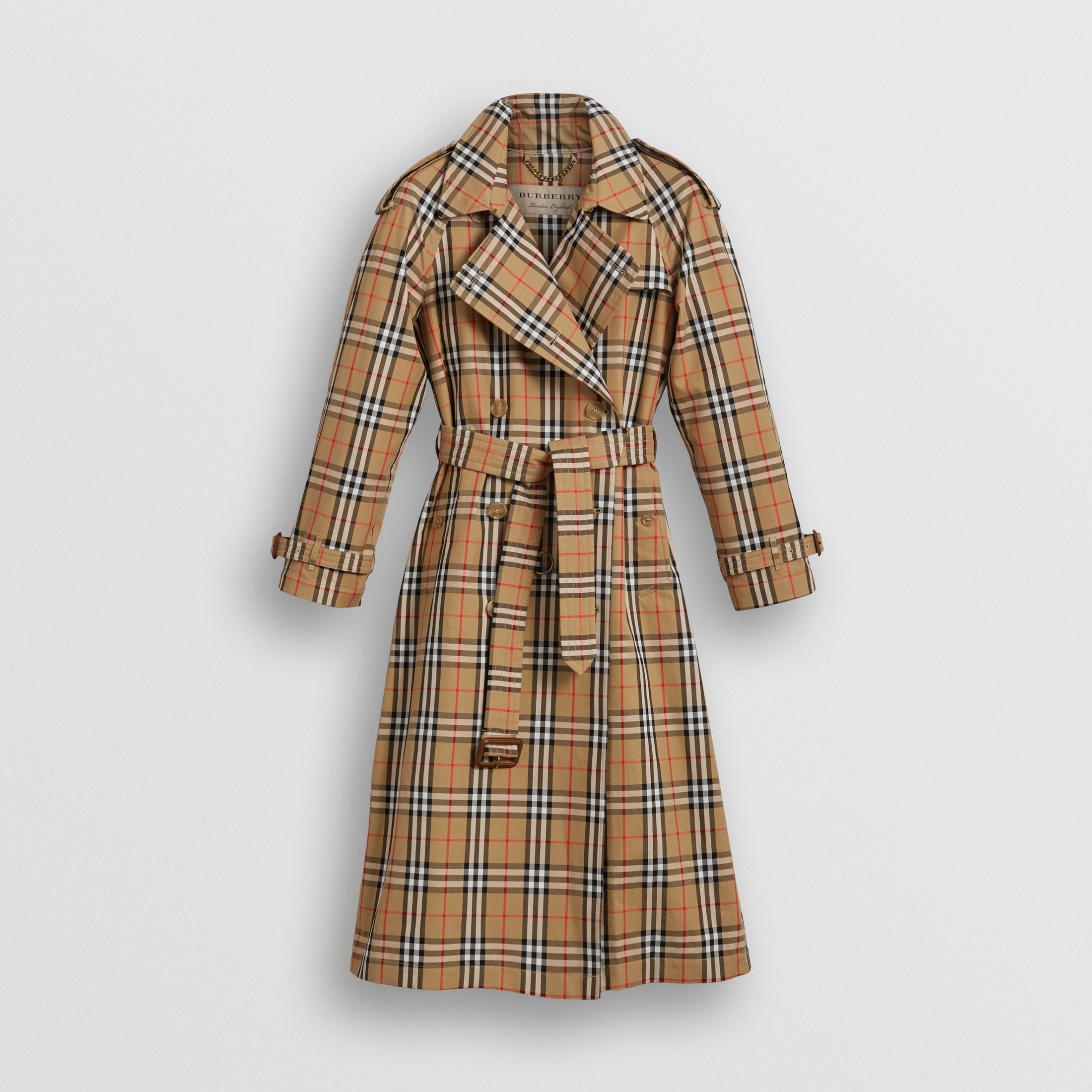 Vintage Check Cotton Trench Coat