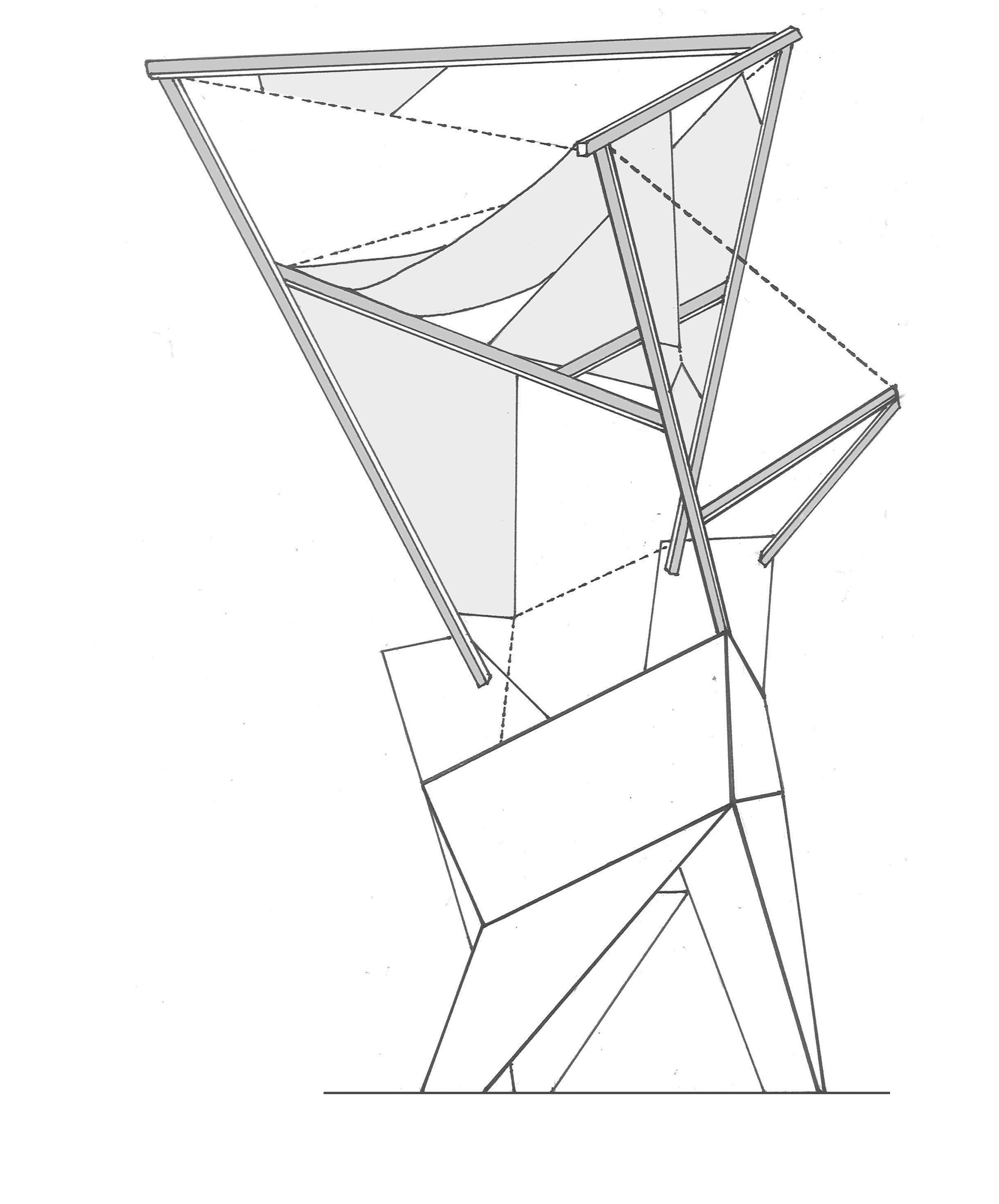 Can abstraction form architecture and can architecture form abstraction?  A drawing that seeks to explore abstract forms in architecture  - Contortion, Bath Yr 1