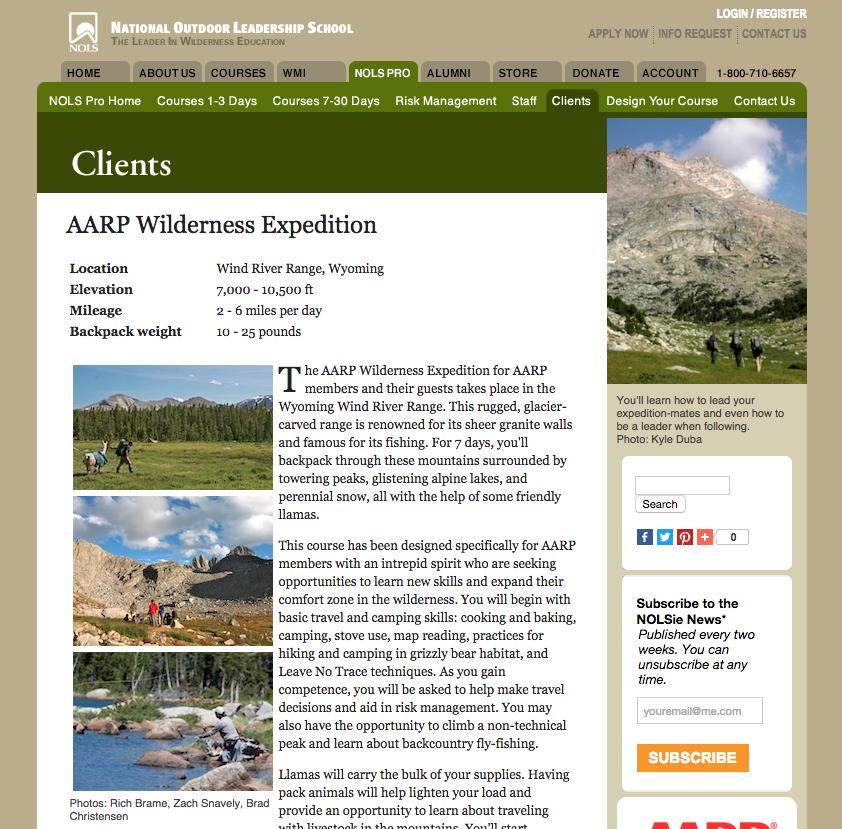 NOLS Website, August 2015