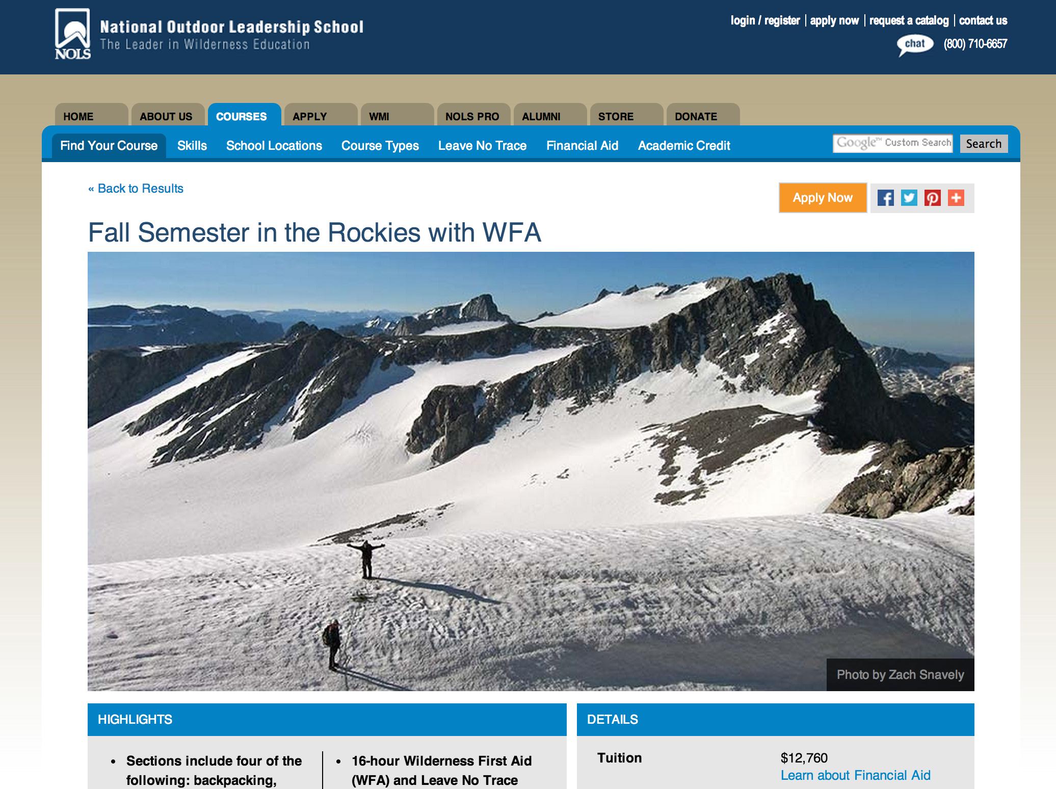 NOLS Website, Fall 2013