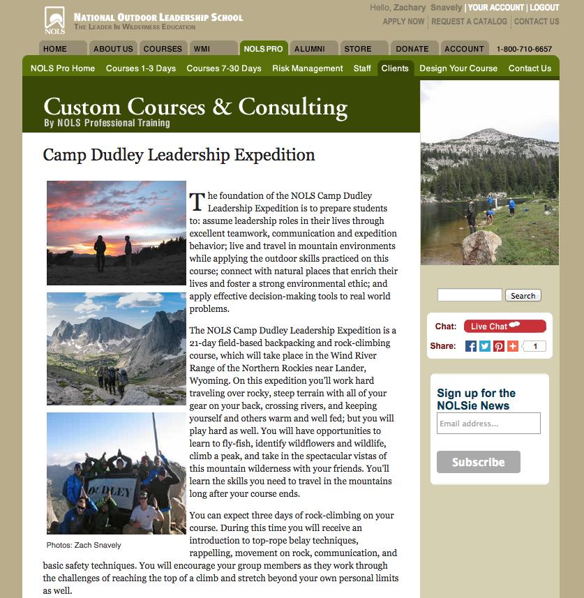 NOLS Website, June 2015