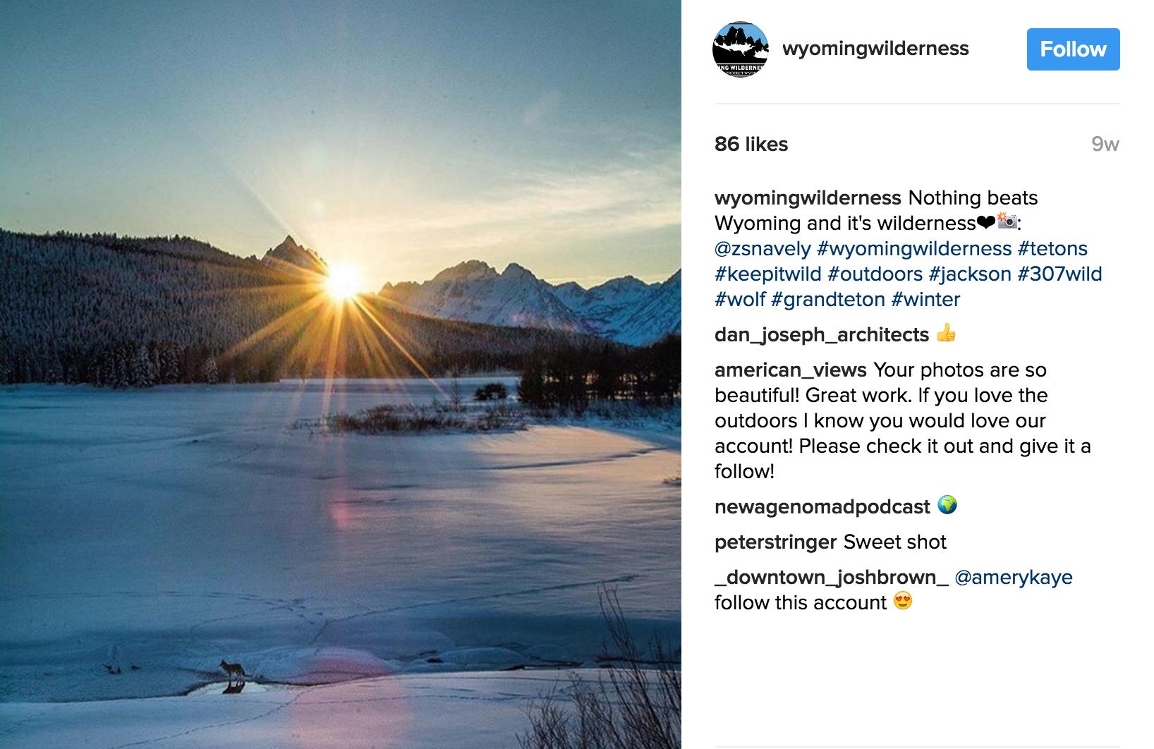 Wyoming Wilderness Association Instagram Feed, February 2017