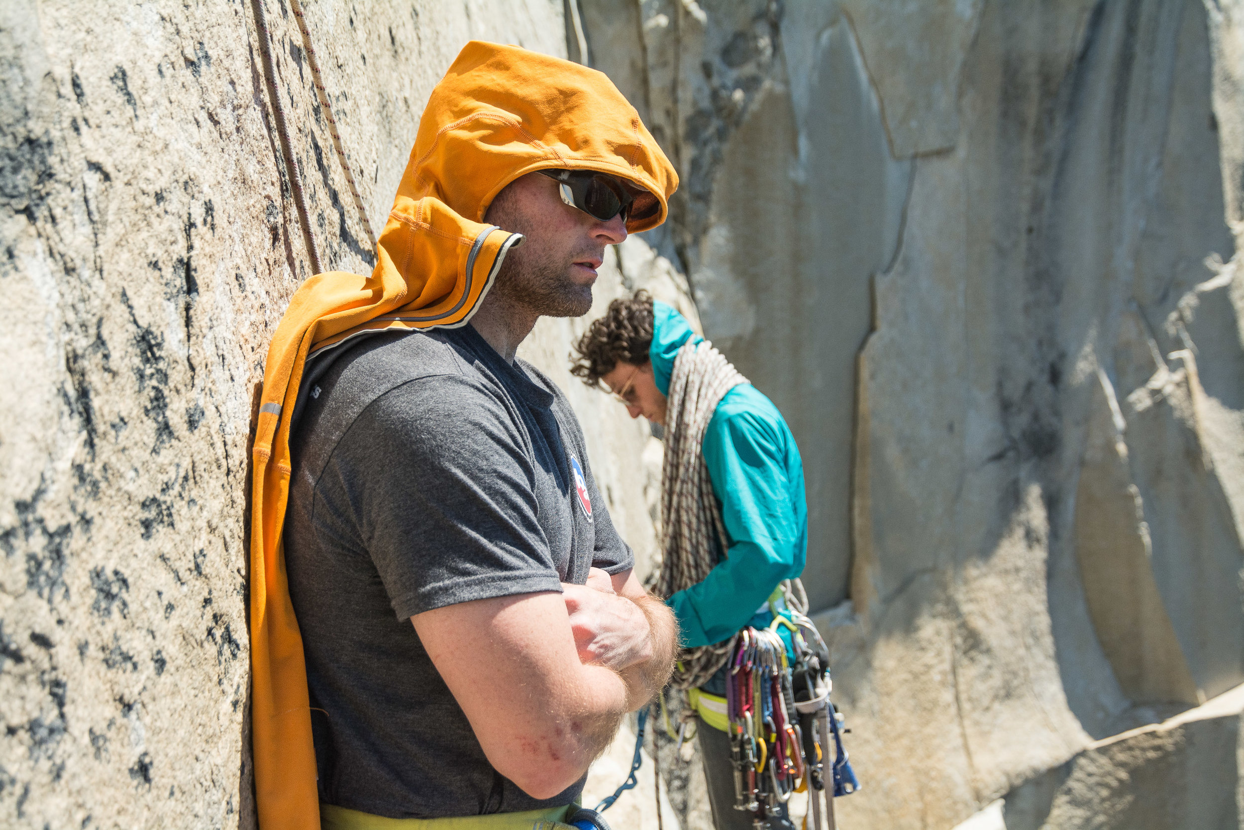 Trying to beat the midday heat, high on El Capitan.