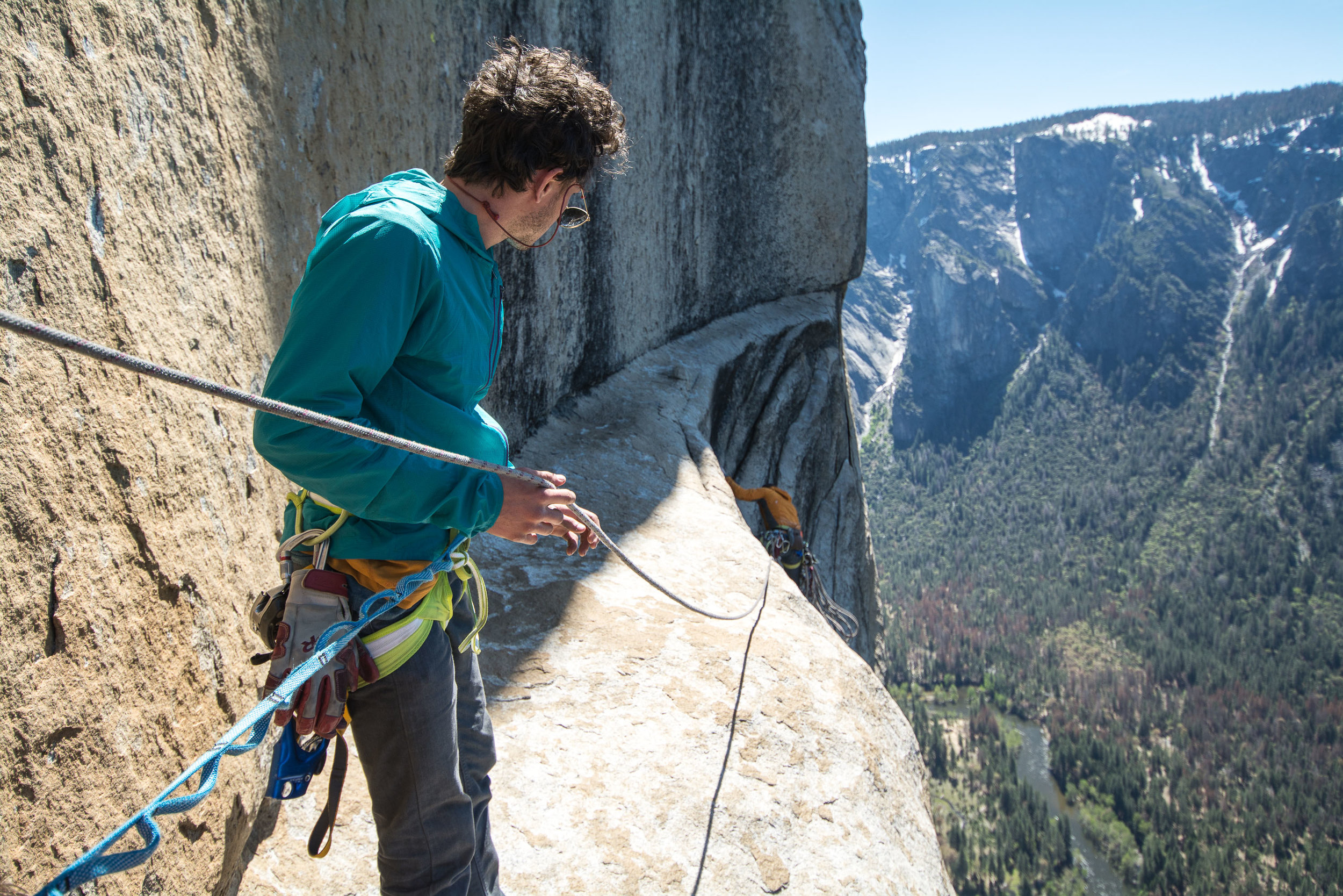 Taking a peak around the corner on one of the route's upper pitches.