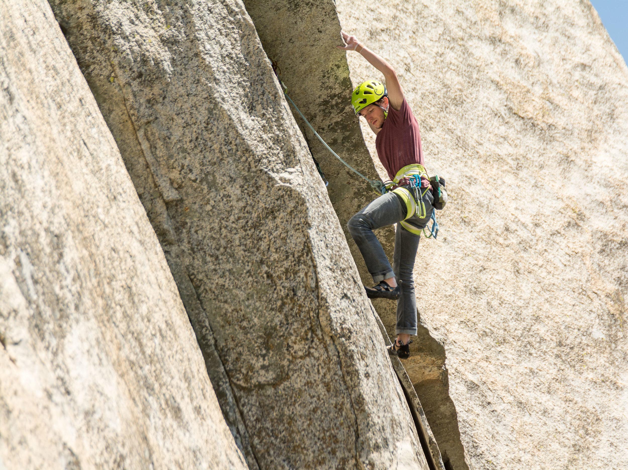 Alex Bridgewater working a cruxy 5.13 traverse on the PreMuir, El Capitan.