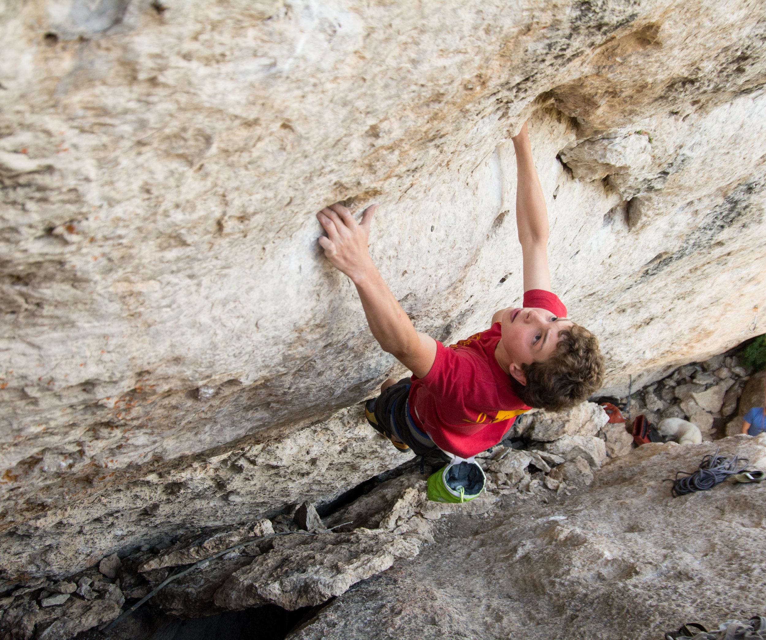 Jonathan Horst climbing at the Rodeo Wave
