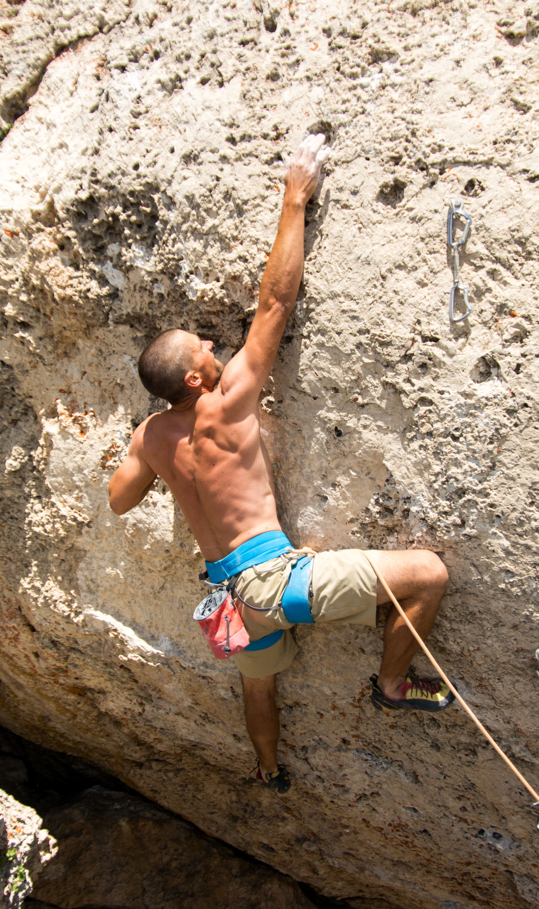 BJ Tilden climbing during the Limestone Rodeo competition