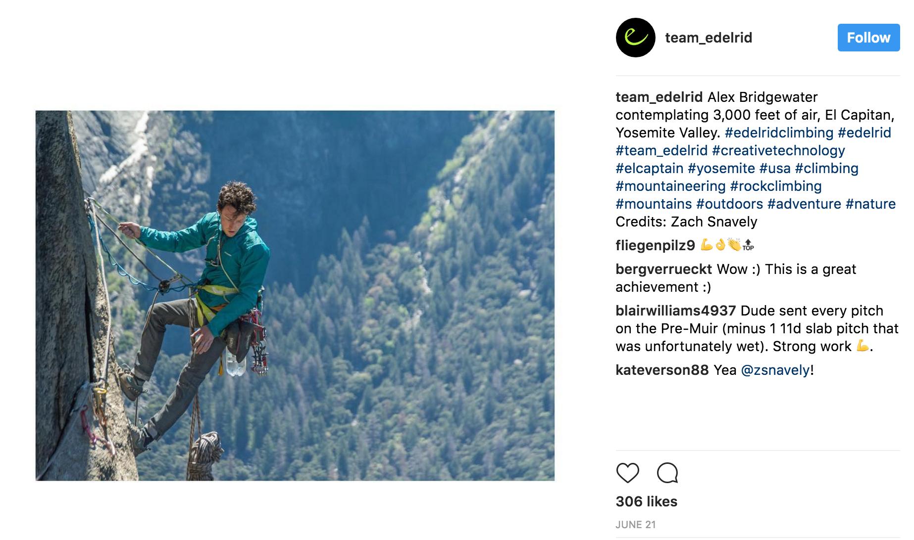 Edelrid Instagram Feed, June 2017