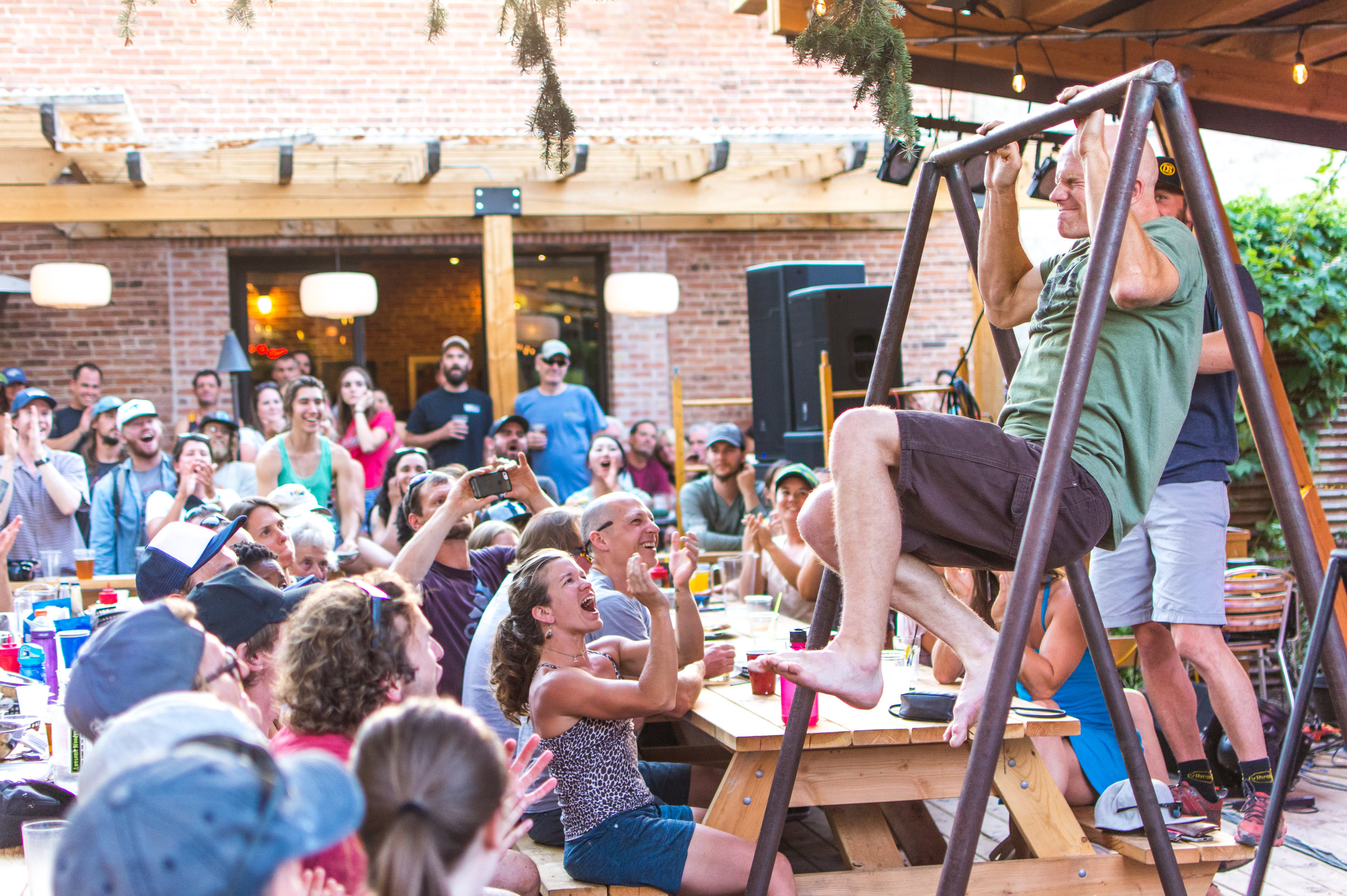 Pull-up competition at the Lander Bar