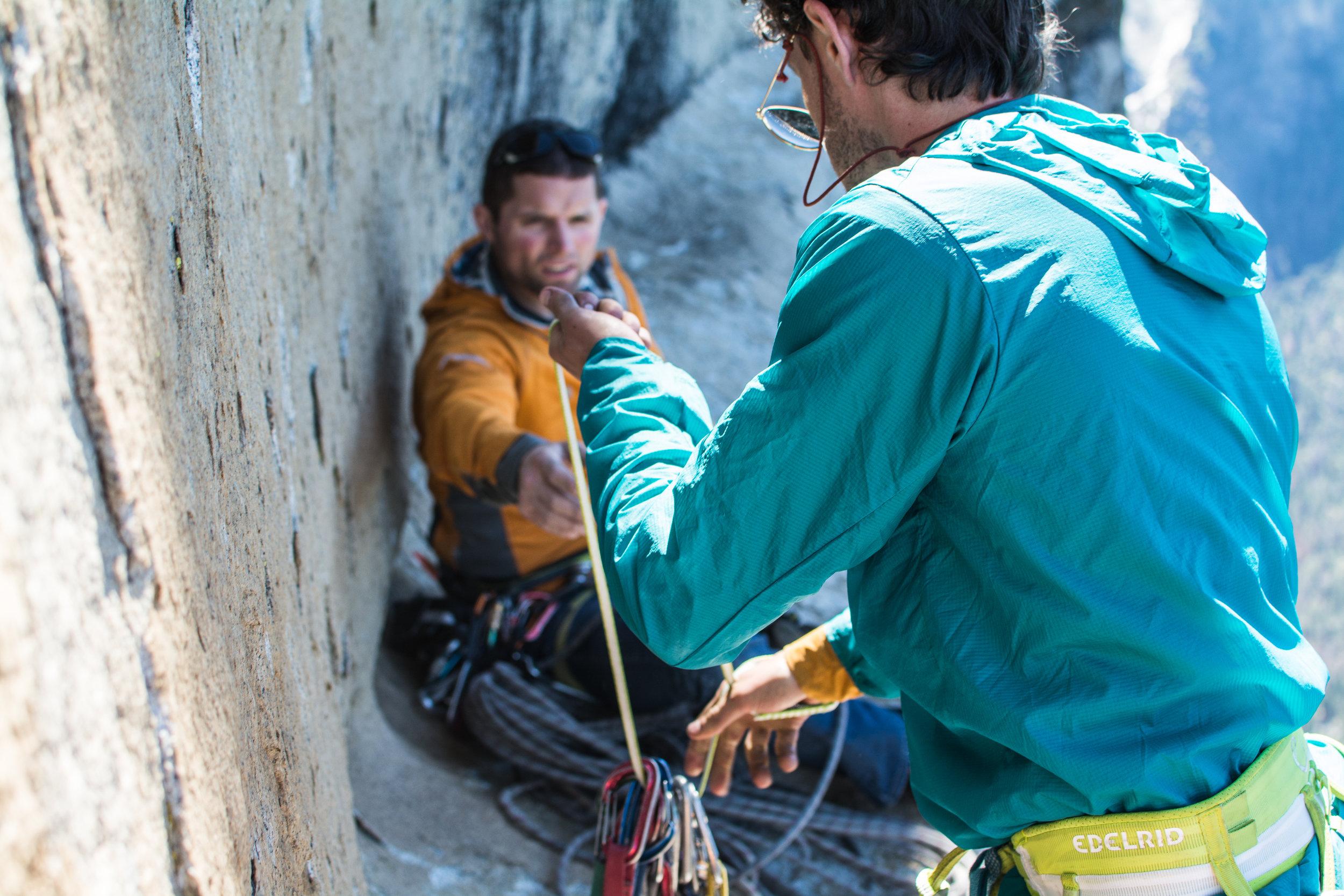 Sorting gear high on El Capitan