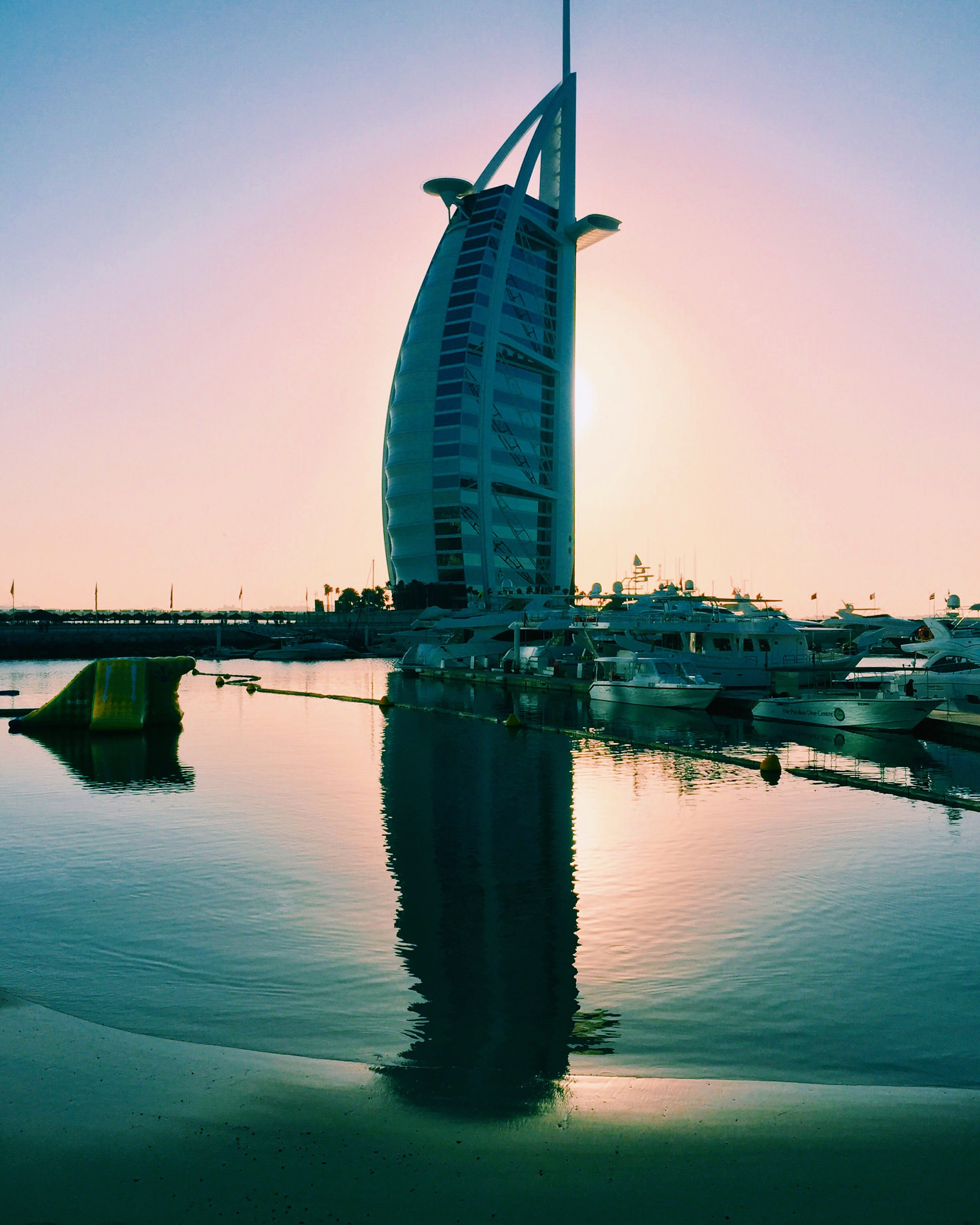 The Burj Al Arab looking stunning and magical at sunset.