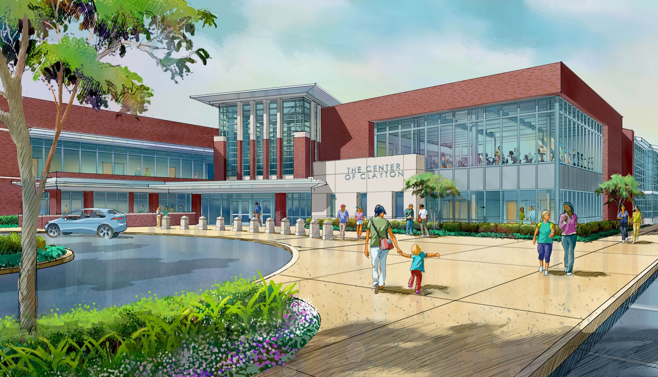 Rendering of the new addition and entrance plaza