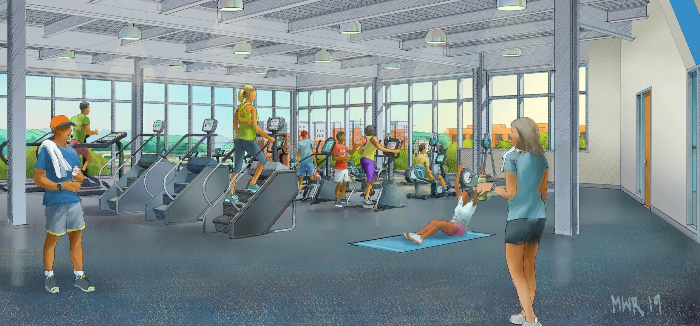 Rendering of the addition's new fitness area