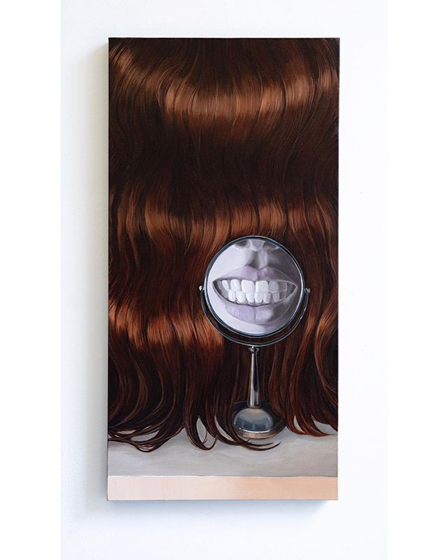 Two or three Extreme symbols? Self-Portrait, oil on canvas, 18x36 inch, 2018 . . . . . #oilpainting #painting #hair #mirror #smile #teeth #kunst #canvas #studio #nyc #drawing #draw #brush 📷:@iceblink_ny