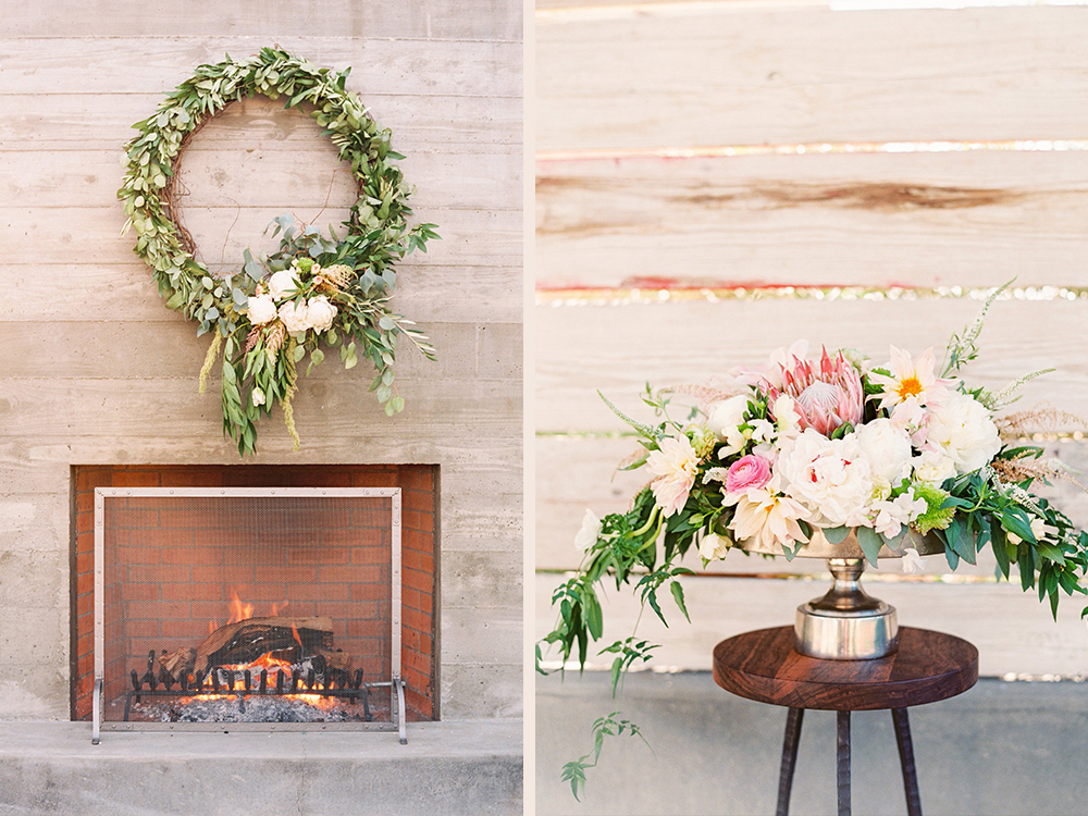 Ceremony setting with garland wreath