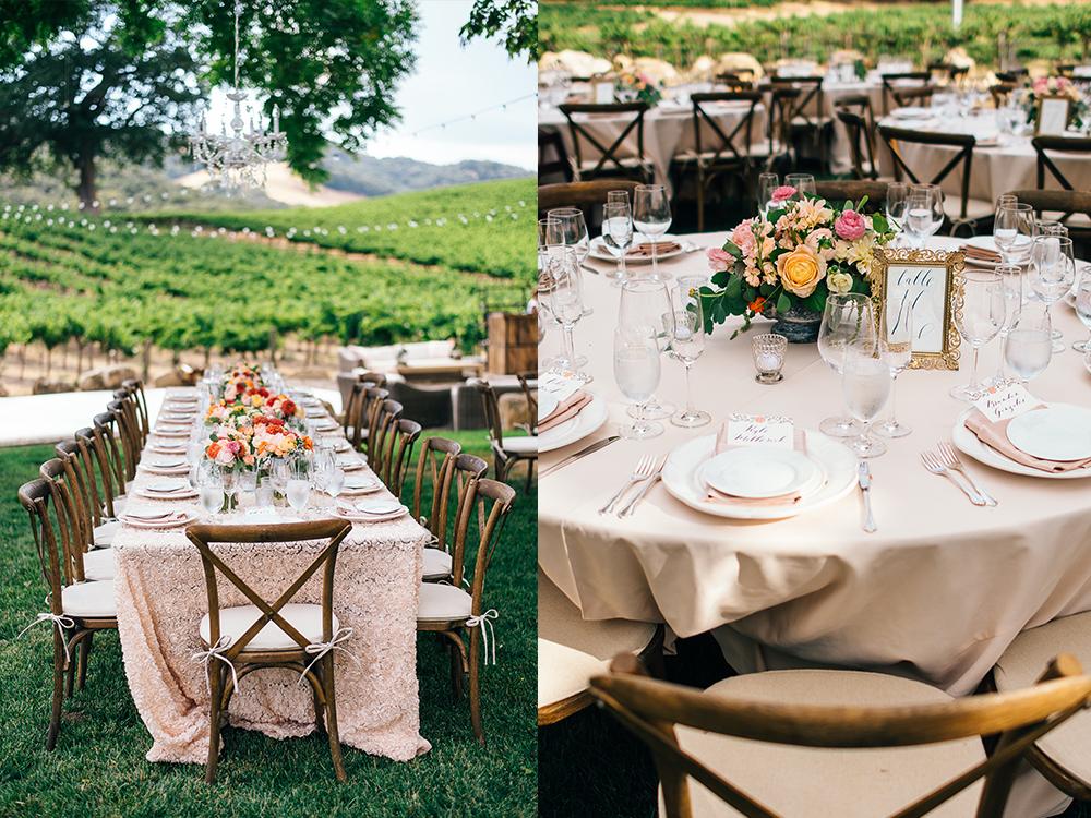 Vineyard reception, centerpieces