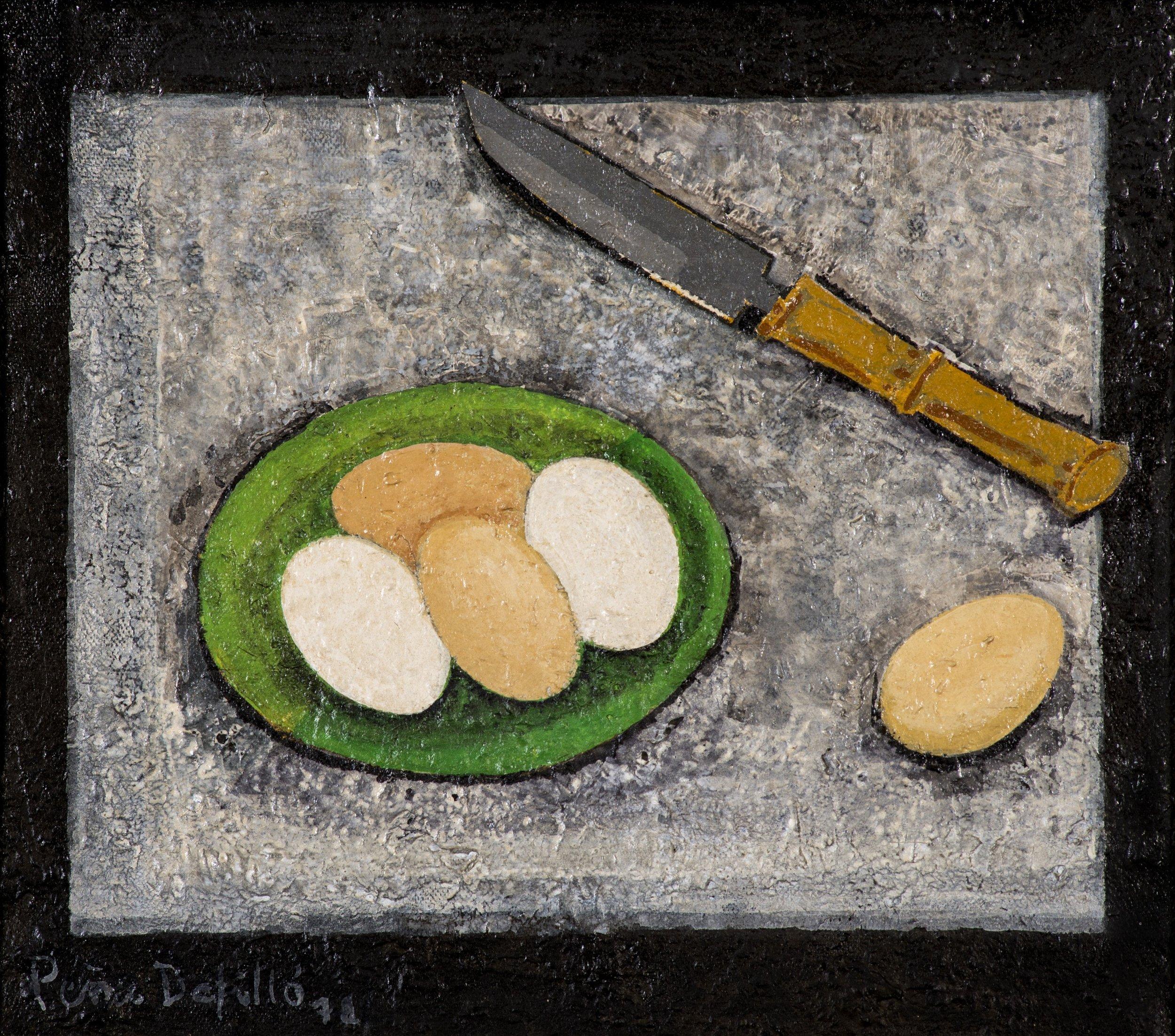 Bodegón con huevos (1972) I Mixto sobre tela