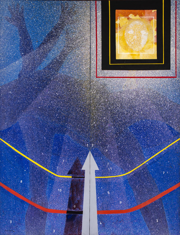 Hombre-tiempo-espacio 2 (1986) I Mixto sobre tela