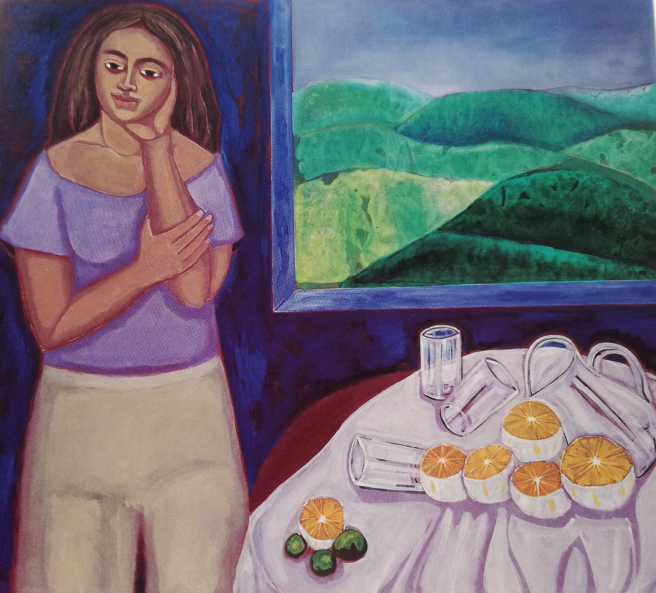 """A.M. en la montaña (1998) Óleo sobre tela. 50 x 56"""" Colección Alexander Araújo-Gerón"""