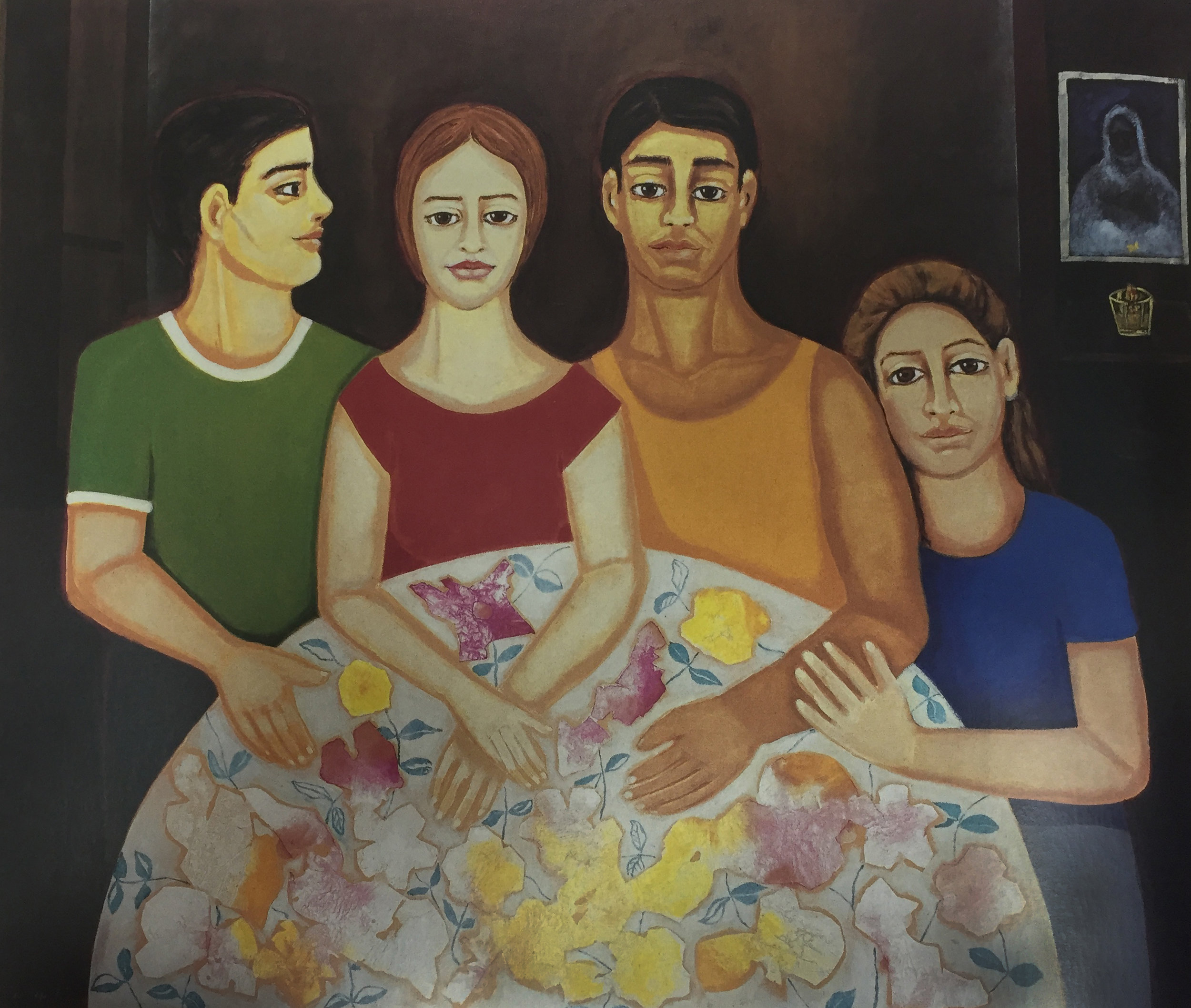 """Los Hermanos. (1998) Mixto sobre tela. 56 x 65"""""""