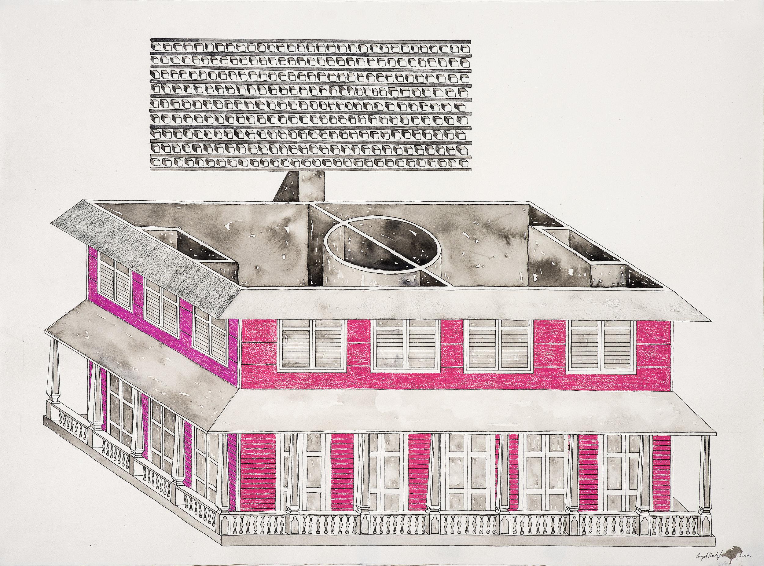 "S:T. Tinta, acuarela, lápiz de color prismacolor sobre papel Arches. 22 x 30.5"""".2019 .jpg"